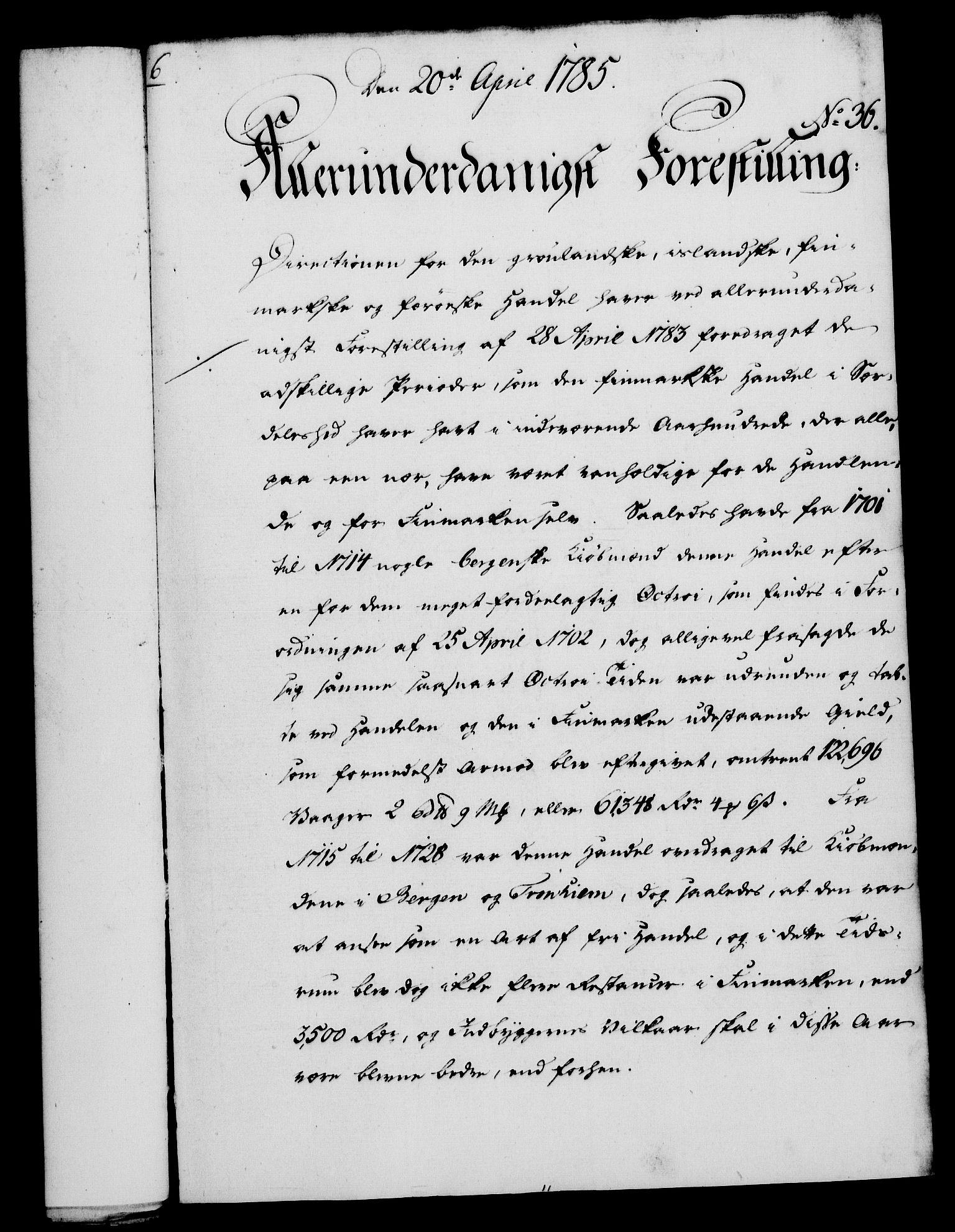 RA, Rentekammeret, Kammerkanselliet, G/Gf/Gfa/L0067: Norsk relasjons- og resolusjonsprotokoll (merket RK 52.67), 1785, s. 281