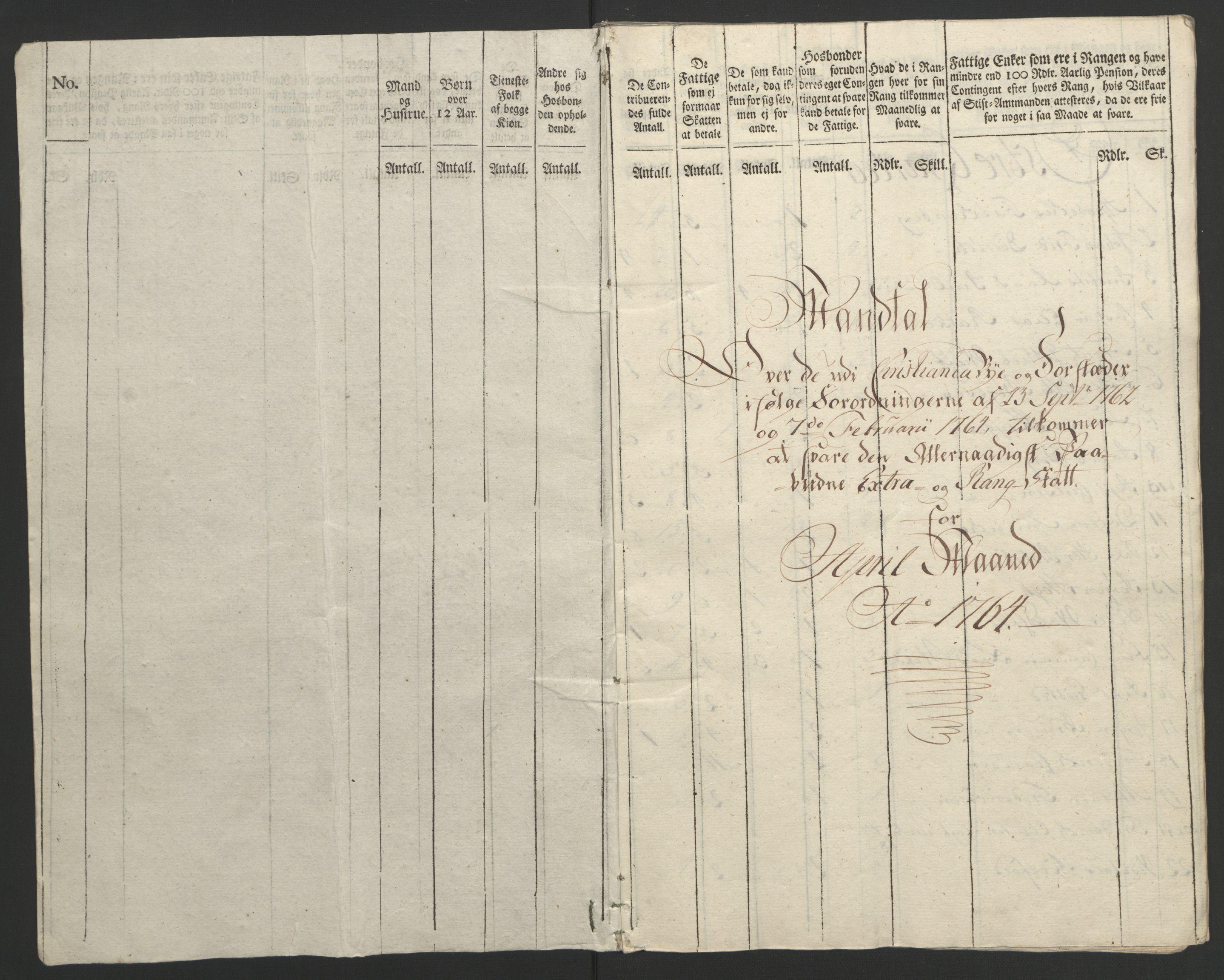 RA, Rentekammeret inntil 1814, Reviderte regnskaper, Byregnskaper, R/Re/L0072: [E13] Kontribusjonsregnskap, 1763-1764, s. 307
