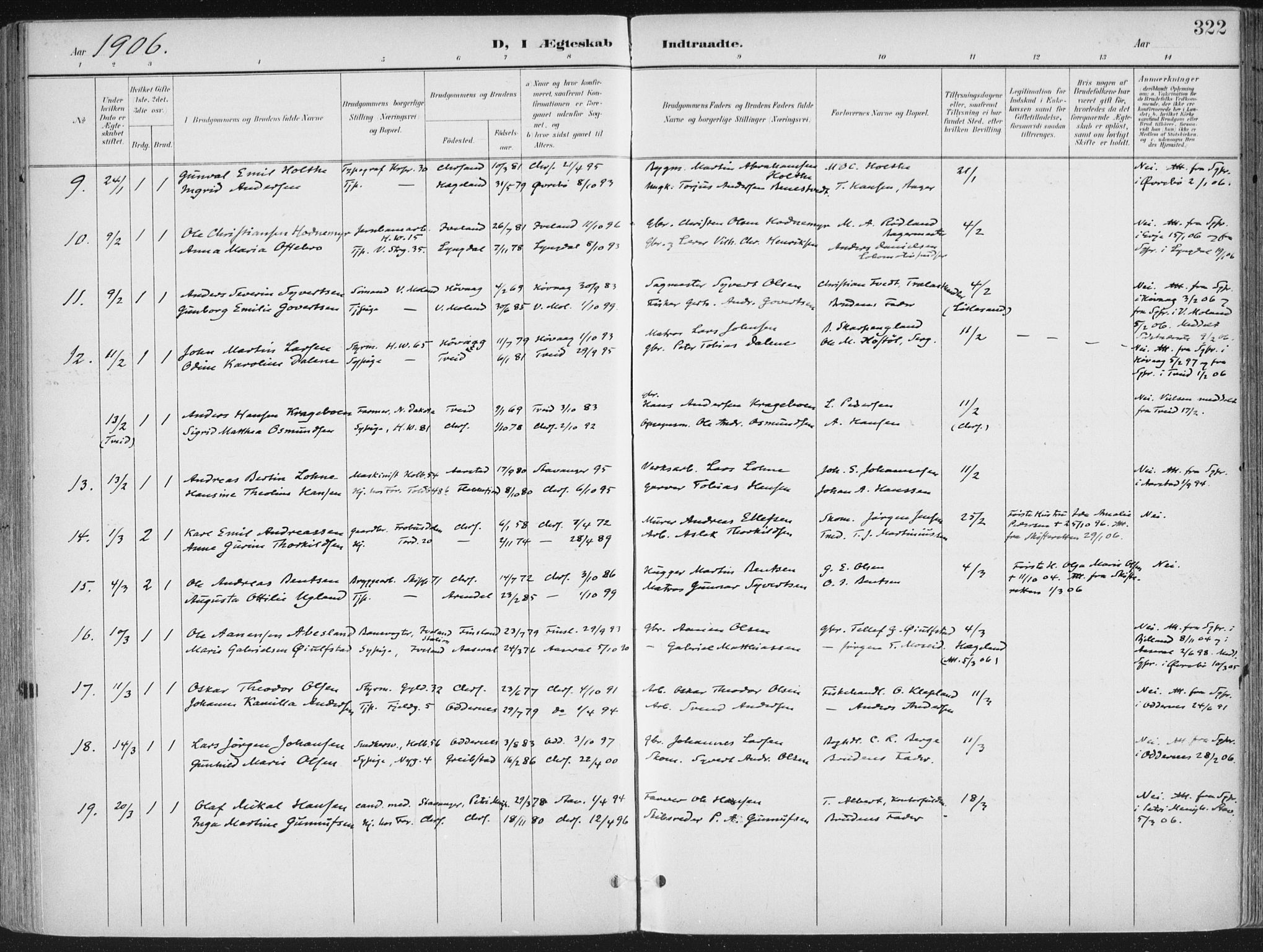 SAK, Kristiansand domprosti, F/Fa/L0021: Ministerialbok nr. A 20, 1898-1908, s. 322