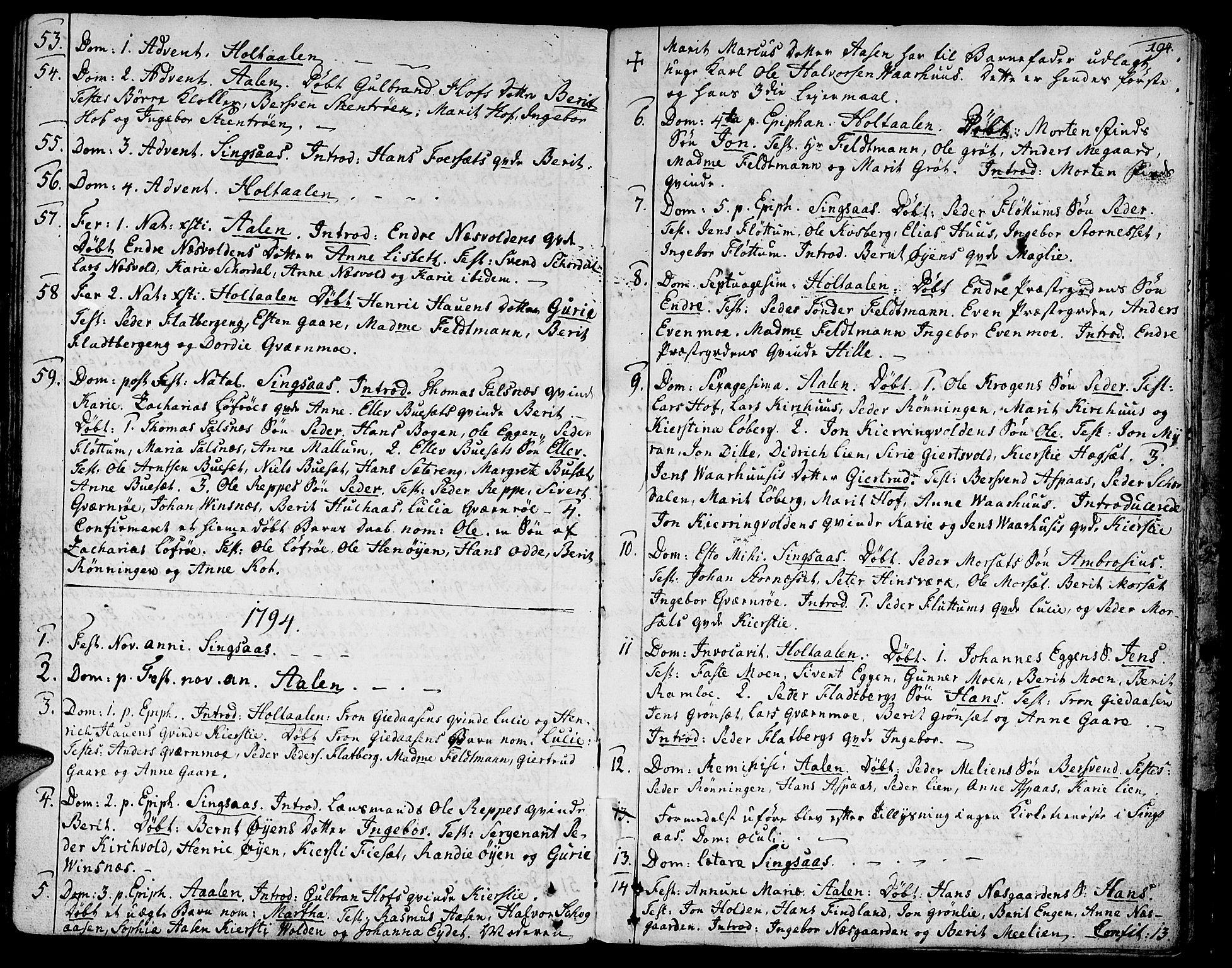 SAT, Ministerialprotokoller, klokkerbøker og fødselsregistre - Sør-Trøndelag, 685/L0952: Ministerialbok nr. 685A01, 1745-1804, s. 194