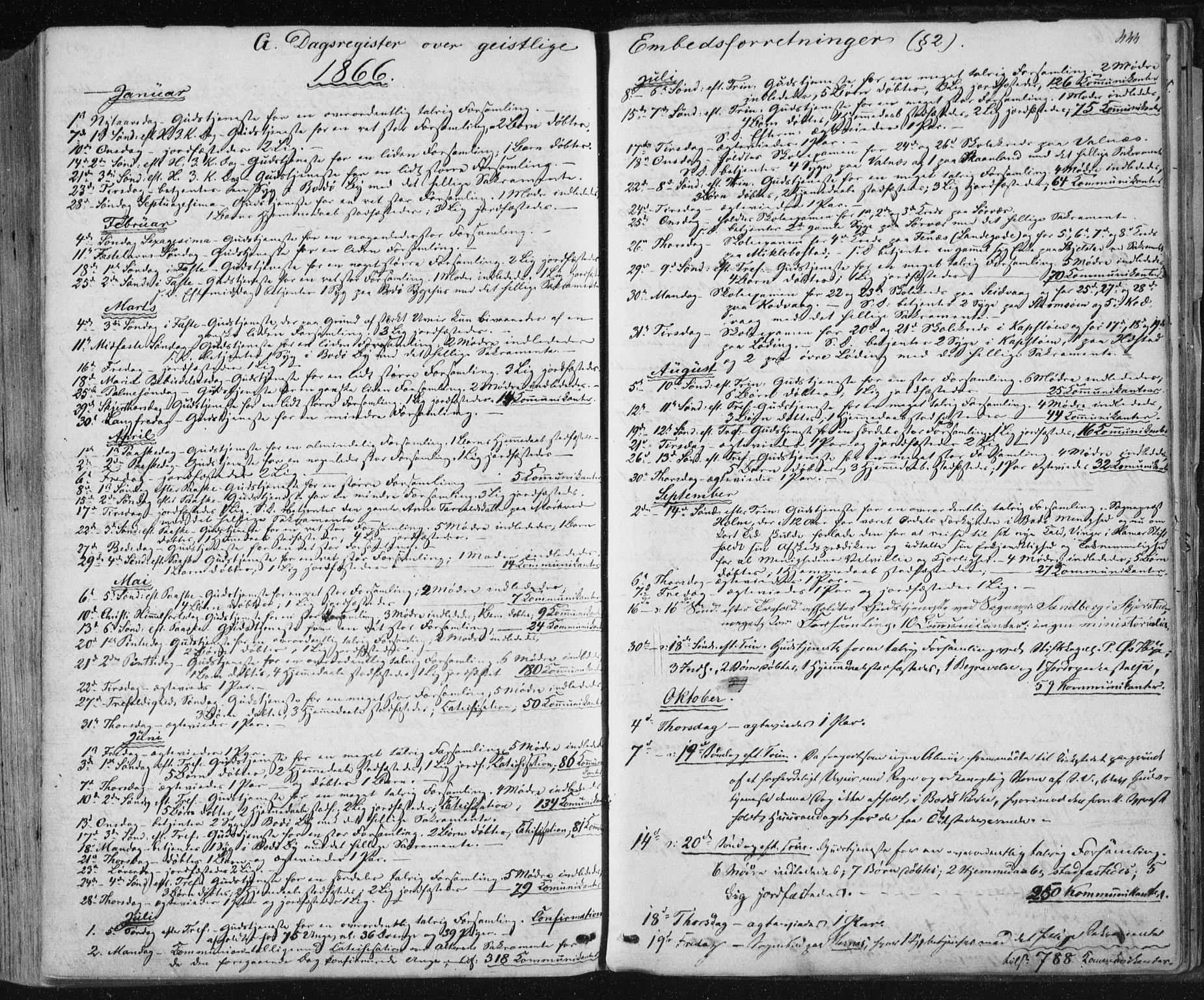 SAT, Ministerialprotokoller, klokkerbøker og fødselsregistre - Nordland, 801/L0008: Ministerialbok nr. 801A08, 1864-1875, s. 444