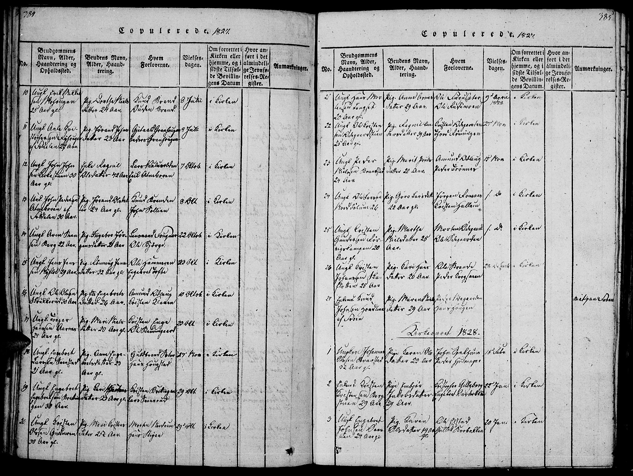SAH, Ringebu prestekontor, Ministerialbok nr. 4, 1821-1839, s. 384-385