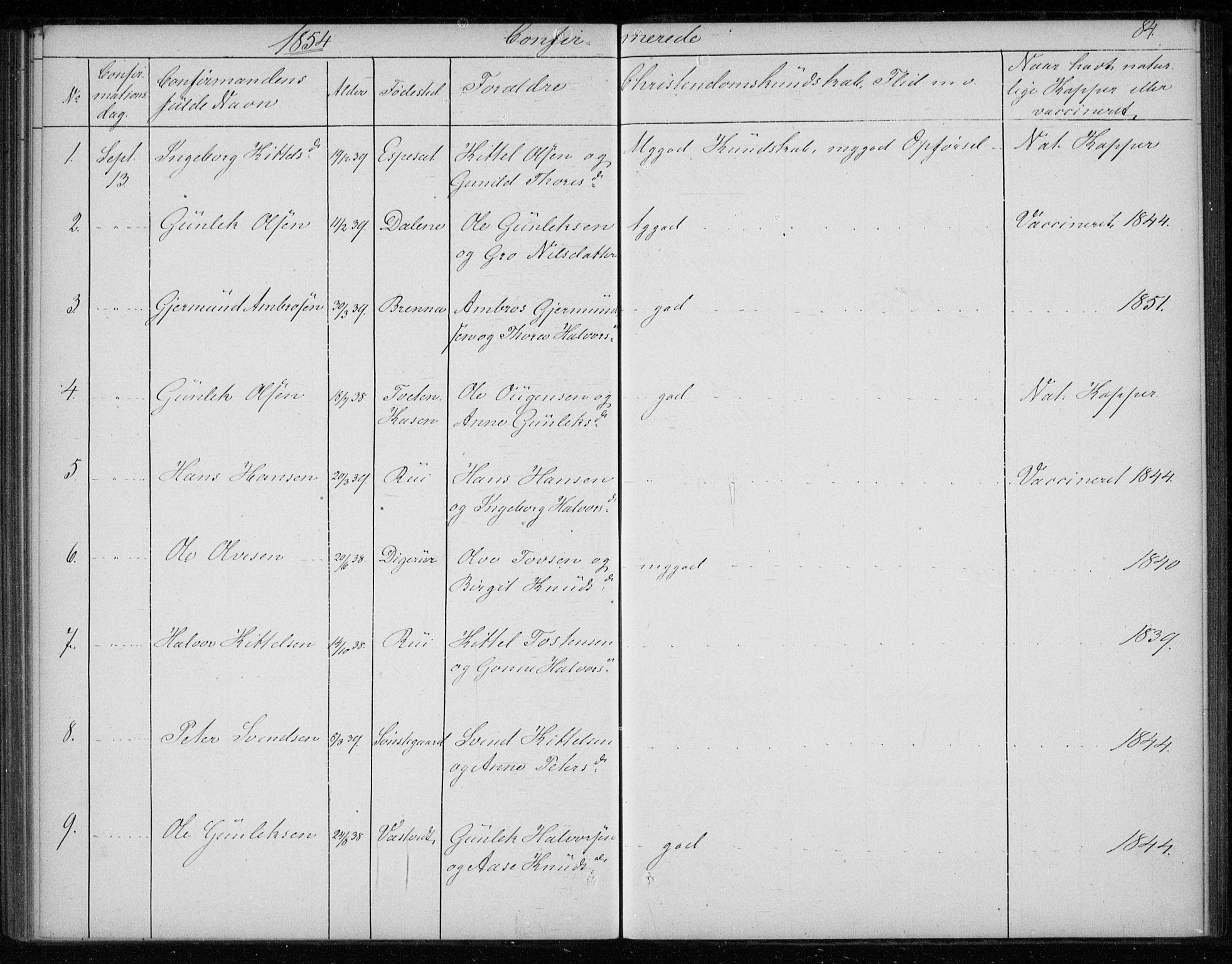 SAKO, Gransherad kirkebøker, F/Fb/L0003: Ministerialbok nr. II 3, 1844-1859, s. 84