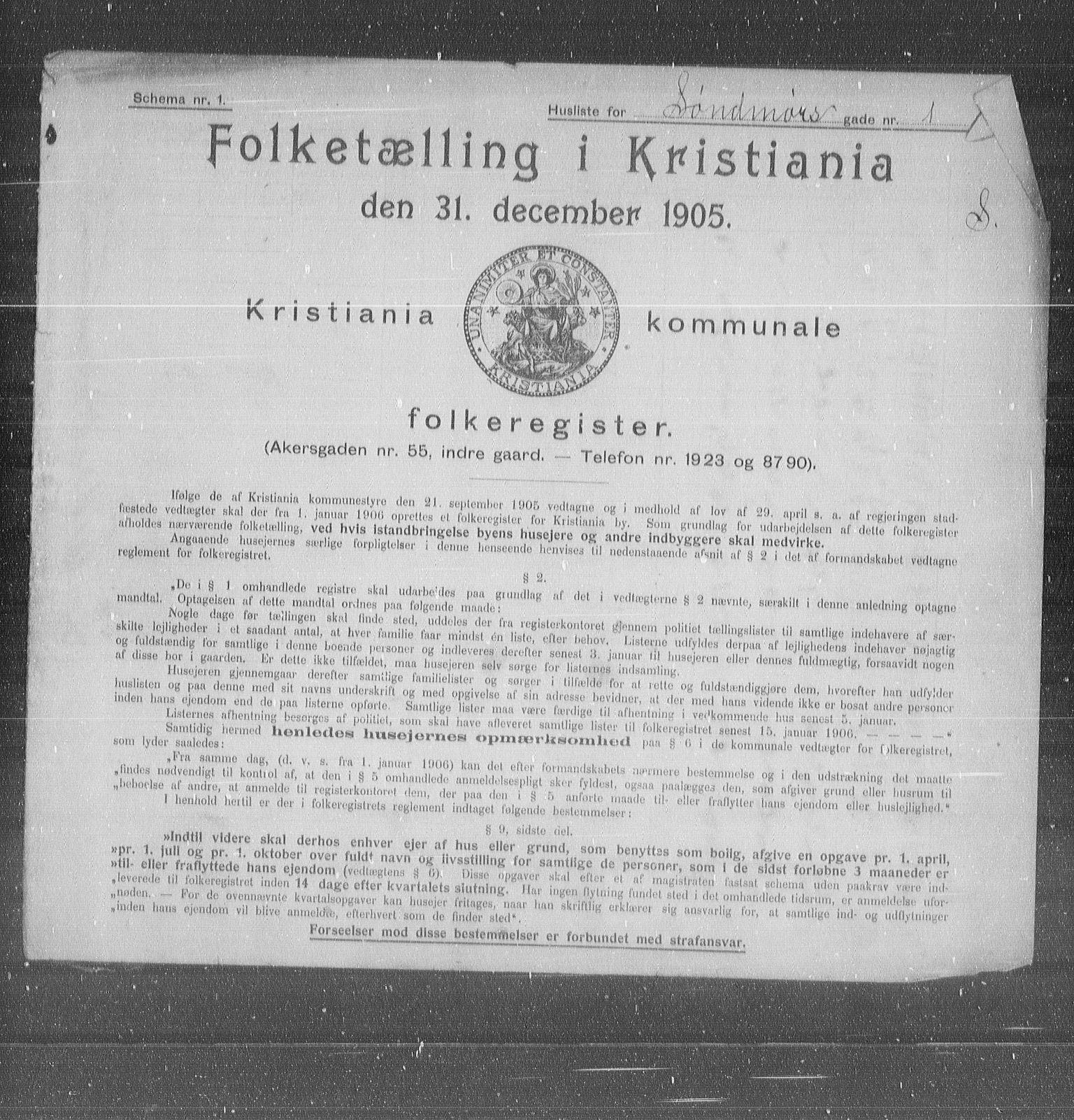 OBA, Kommunal folketelling 1905 for Kristiania kjøpstad, 1905, s. 55616