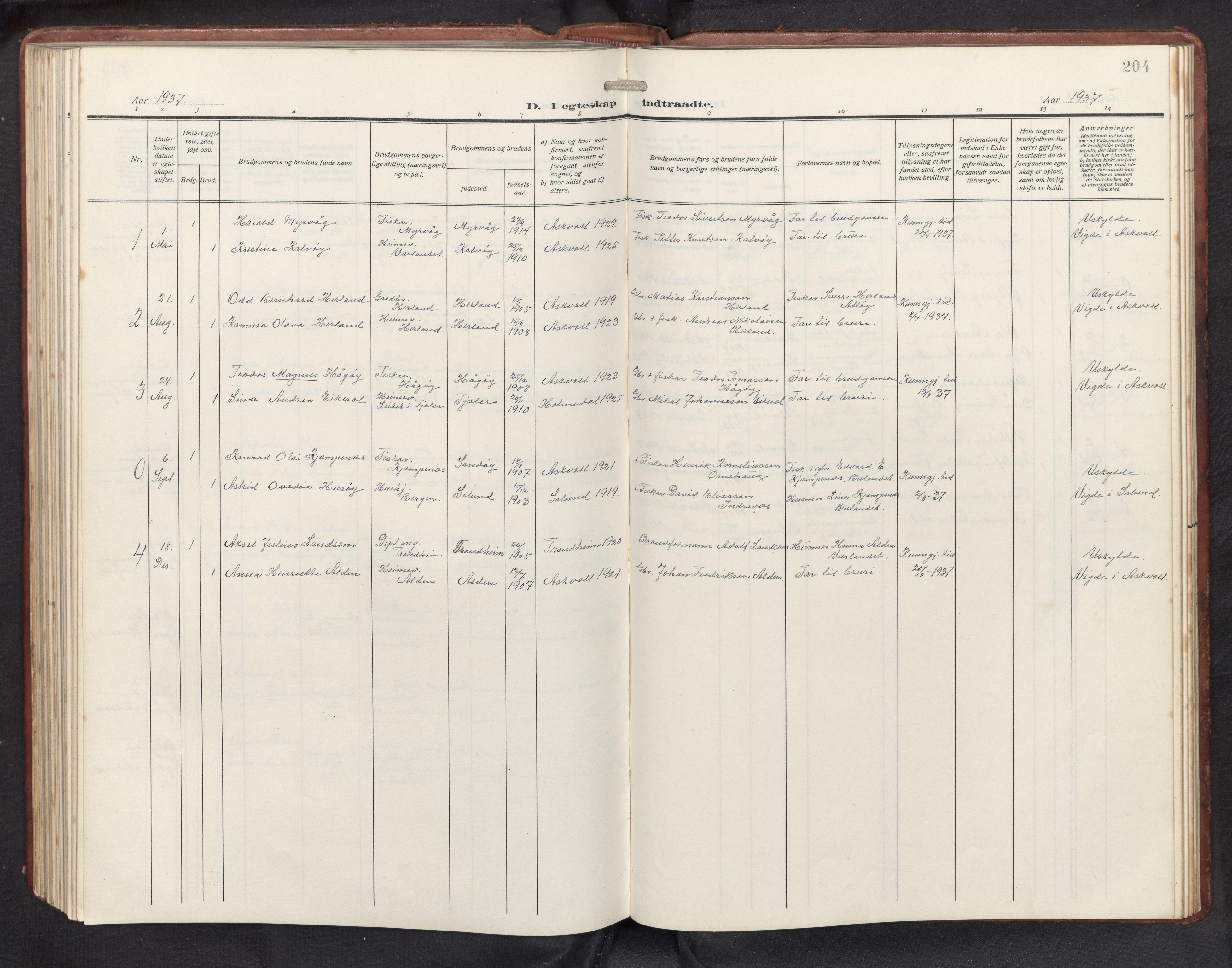 SAB, Askvoll sokneprestembete, H/Hab/Habb/L0002: Klokkerbok nr. B 2, 1910-1947, s. 203b-204a