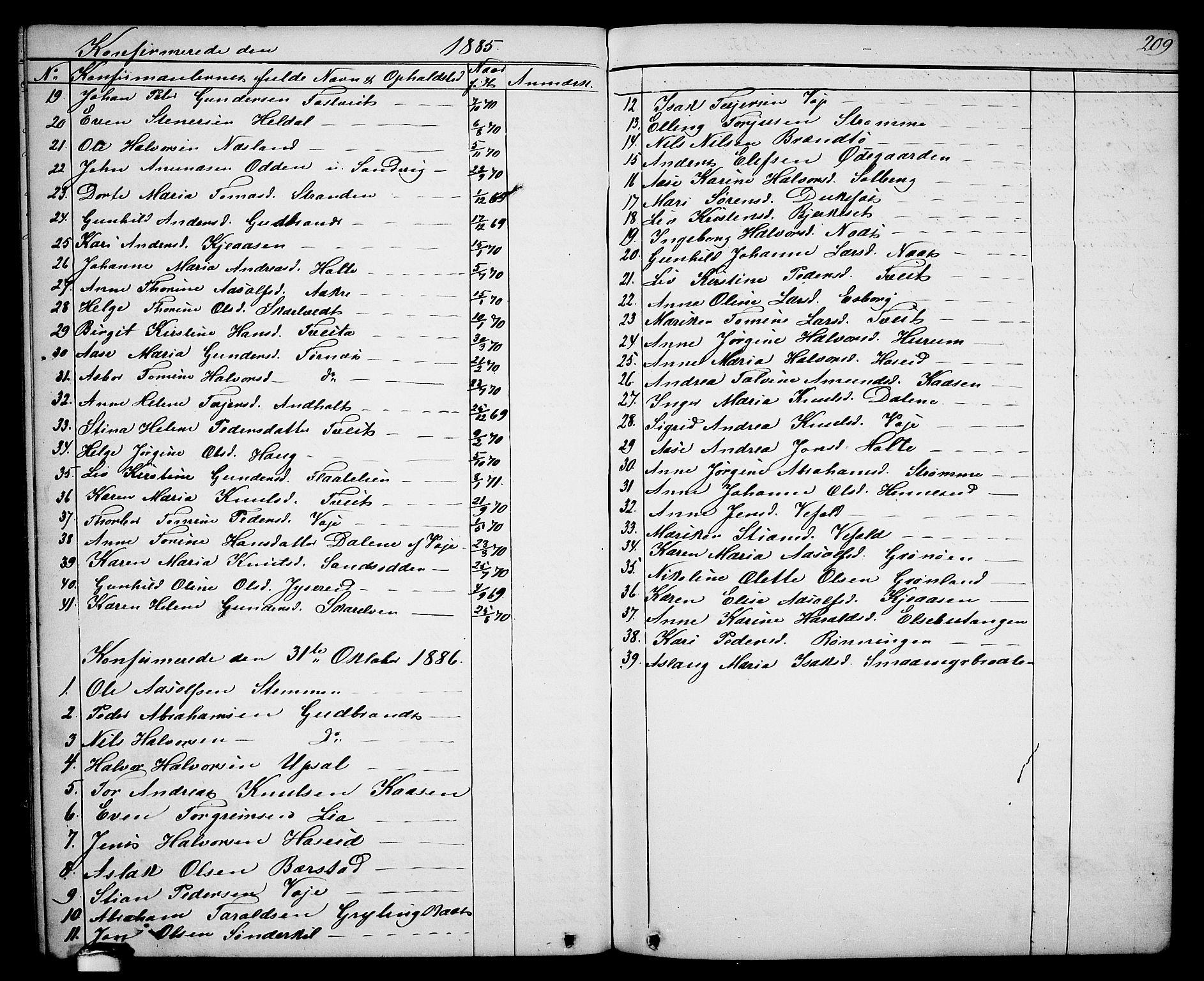 SAKO, Drangedal kirkebøker, G/Ga/L0002: Klokkerbok nr. I 2, 1856-1887, s. 209