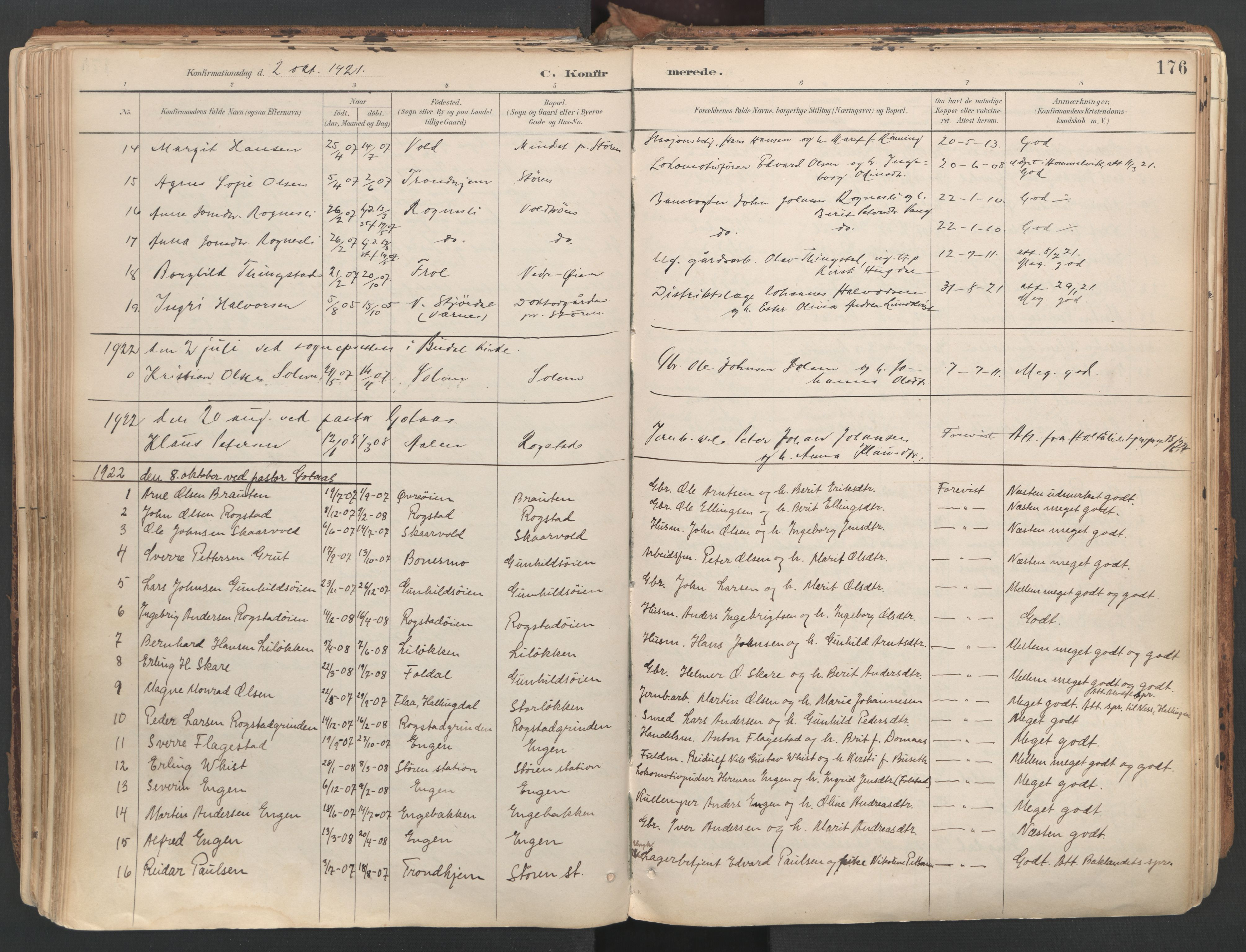 SAT, Ministerialprotokoller, klokkerbøker og fødselsregistre - Sør-Trøndelag, 687/L1004: Ministerialbok nr. 687A10, 1891-1923, s. 176