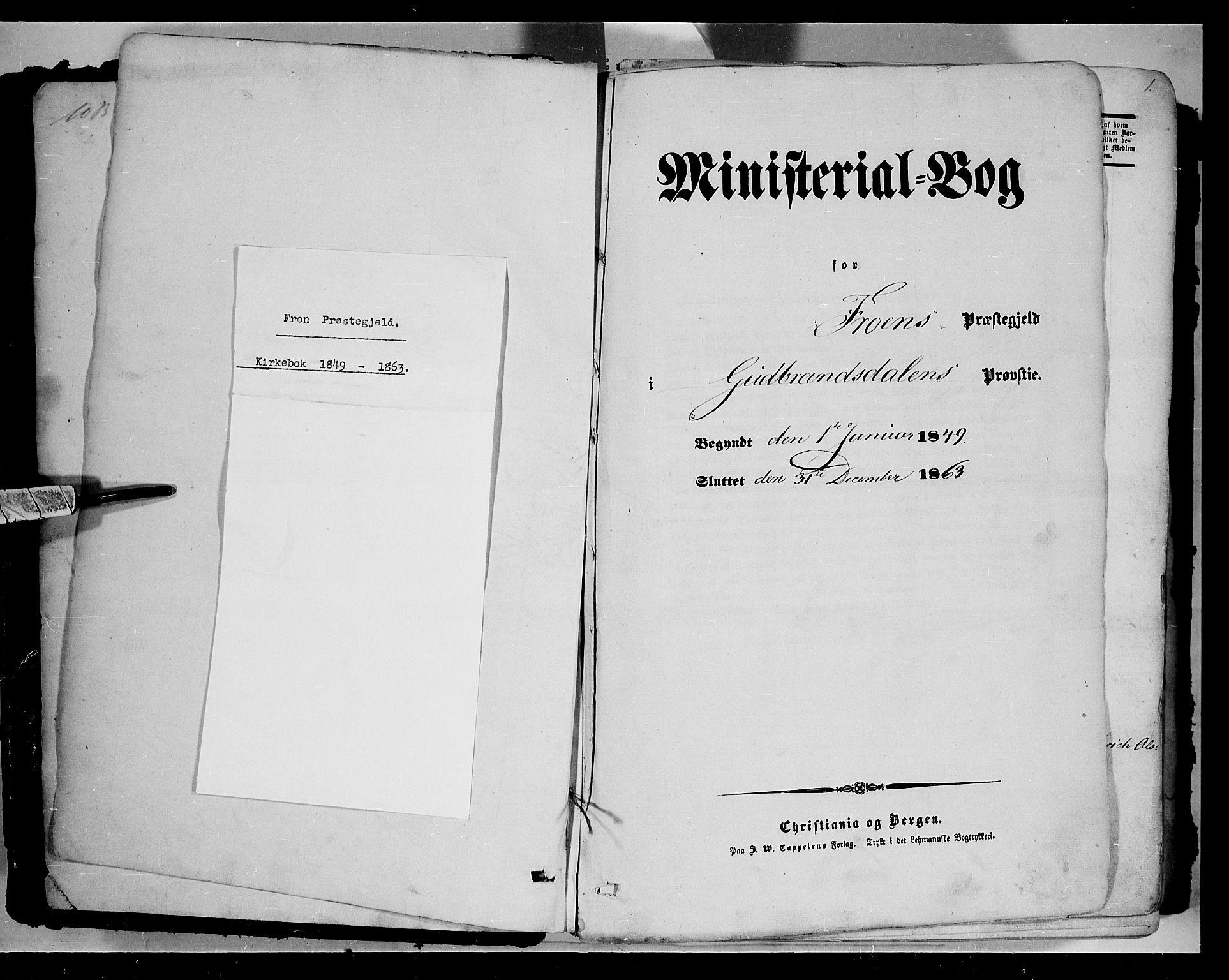 SAH, Sør-Fron prestekontor, H/Ha/Haa/L0001: Ministerialbok nr. 1, 1849-1863