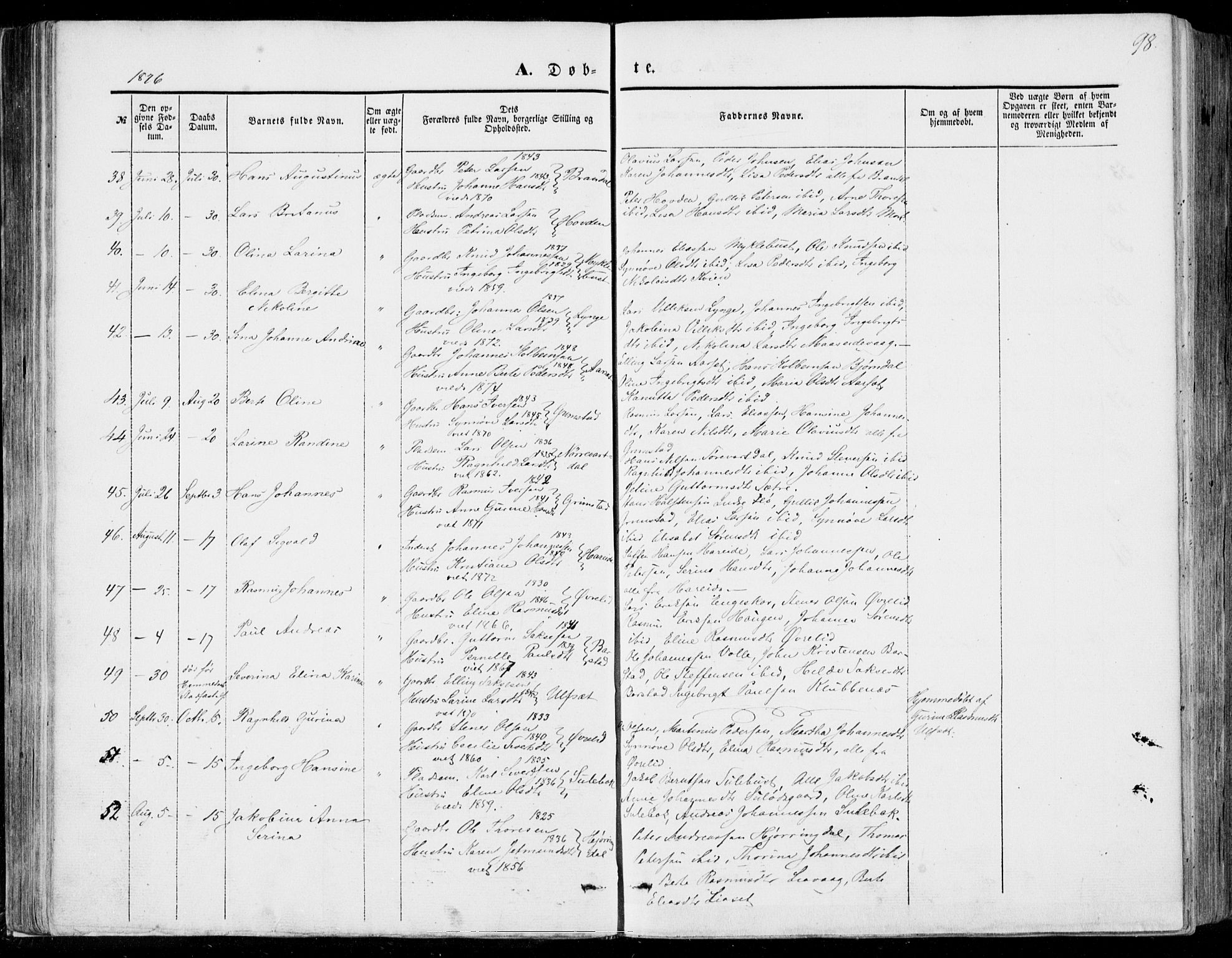 SAT, Ministerialprotokoller, klokkerbøker og fødselsregistre - Møre og Romsdal, 510/L0121: Ministerialbok nr. 510A01, 1848-1877, s. 98