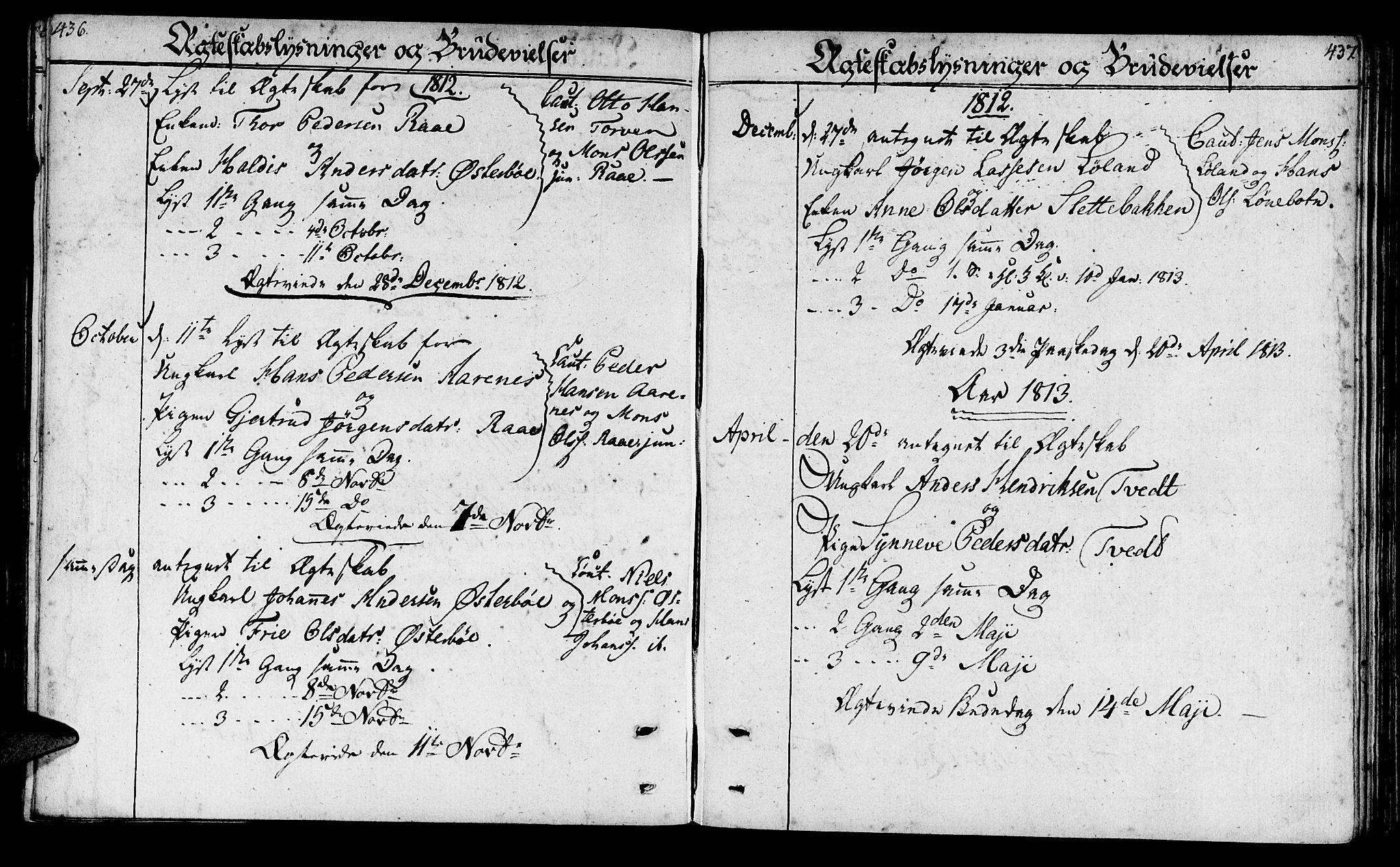 SAB, Lavik sokneprestembete, Ministerialbok nr. A 1, 1809-1822, s. 436-437