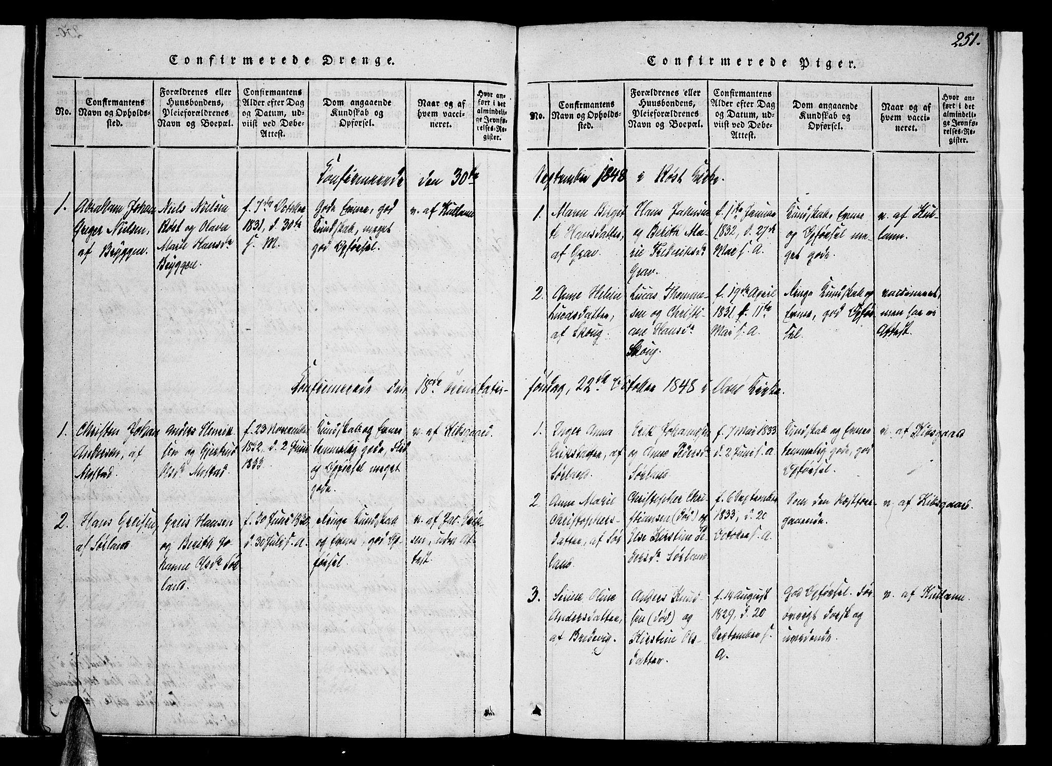 SAT, Ministerialprotokoller, klokkerbøker og fødselsregistre - Nordland, 807/L0120: Ministerialbok nr. 807A03, 1821-1848, s. 251