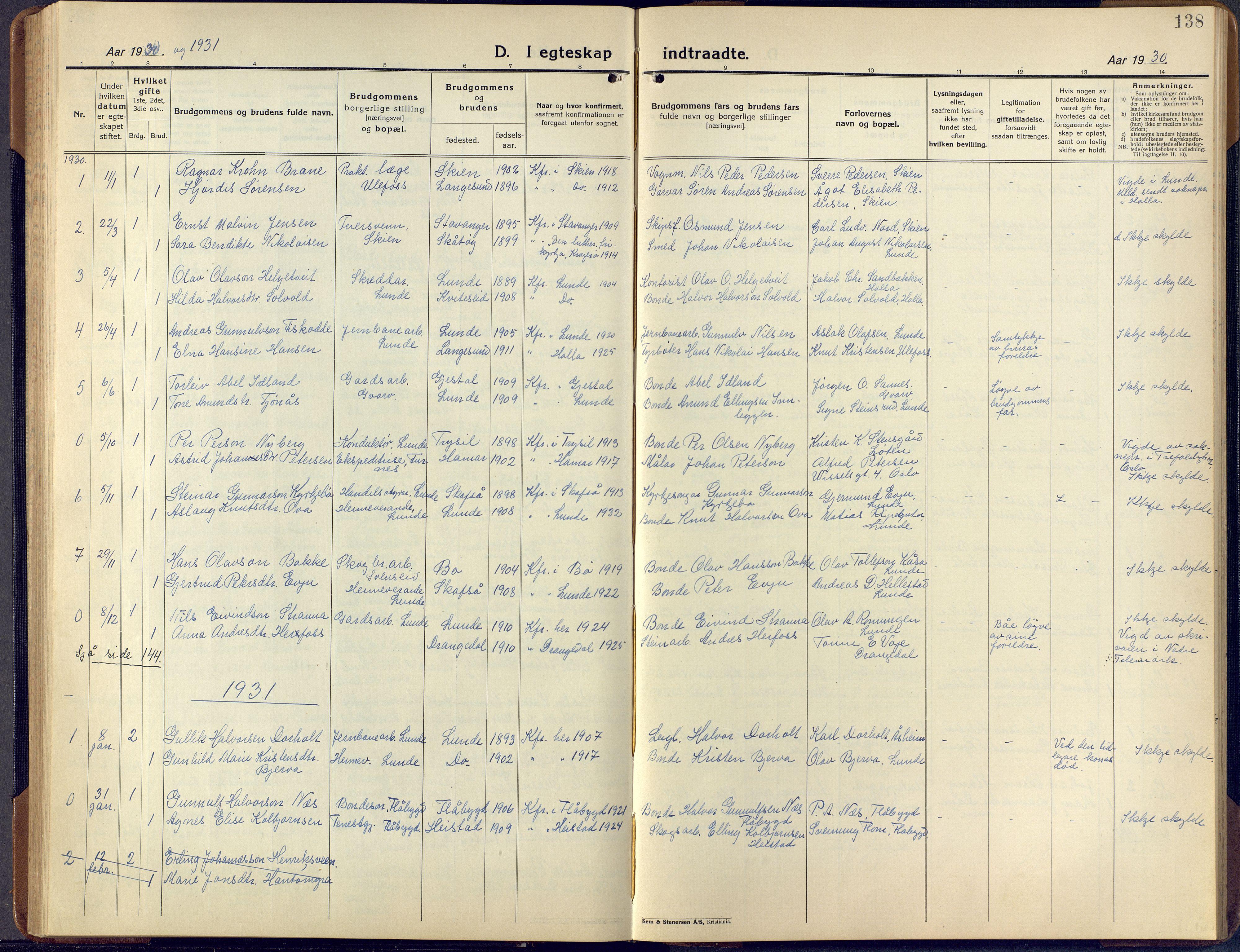 SAKO, Lunde kirkebøker, F/Fa/L0006: Ministerialbok nr. I 6, 1922-1940, s. 138