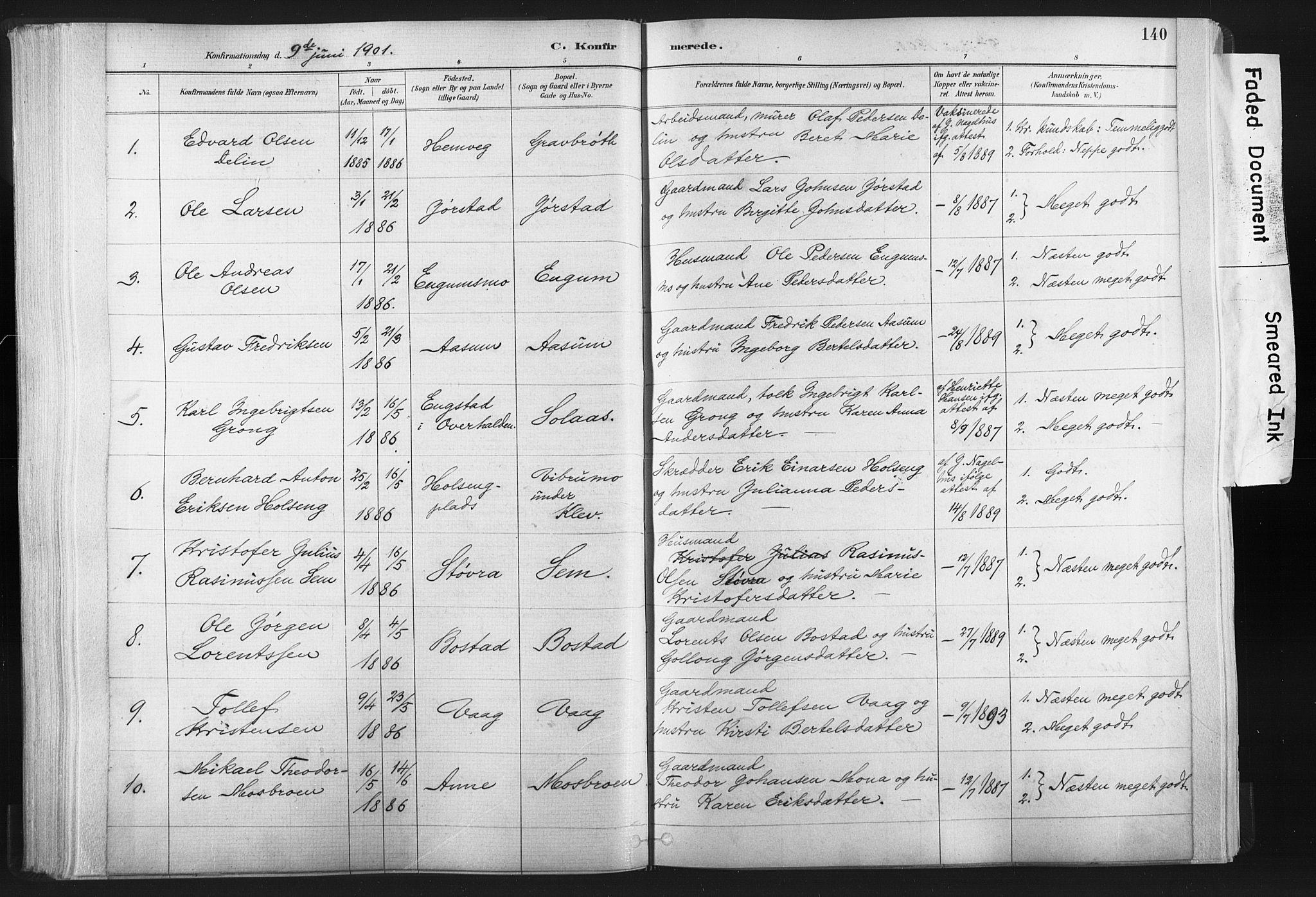 SAT, Ministerialprotokoller, klokkerbøker og fødselsregistre - Nord-Trøndelag, 749/L0474: Ministerialbok nr. 749A08, 1887-1903, s. 140