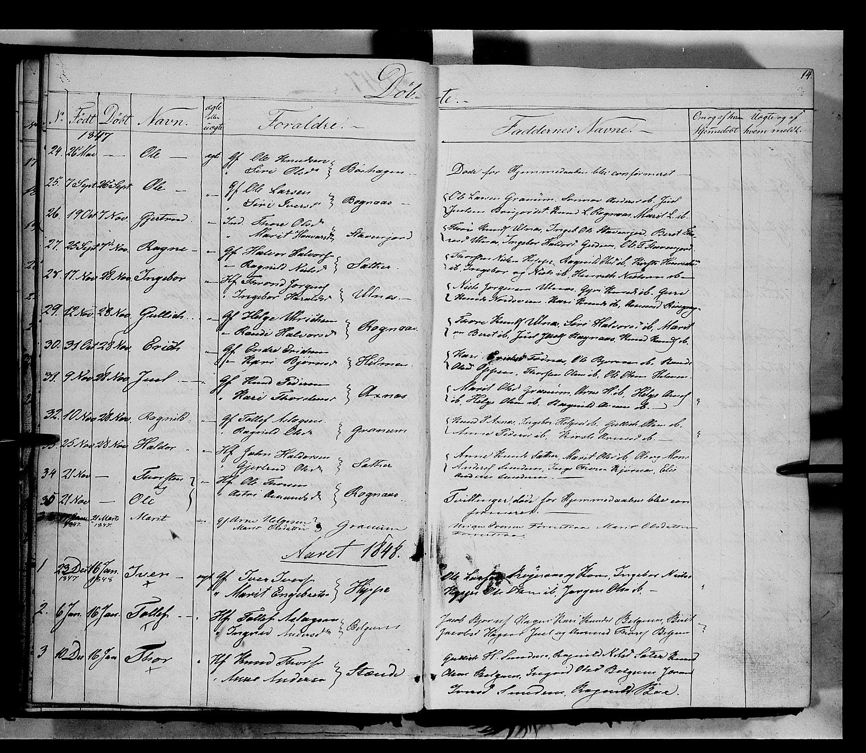 SAH, Nord-Aurdal prestekontor, Ministerialbok nr. 6, 1842-1863, s. 14