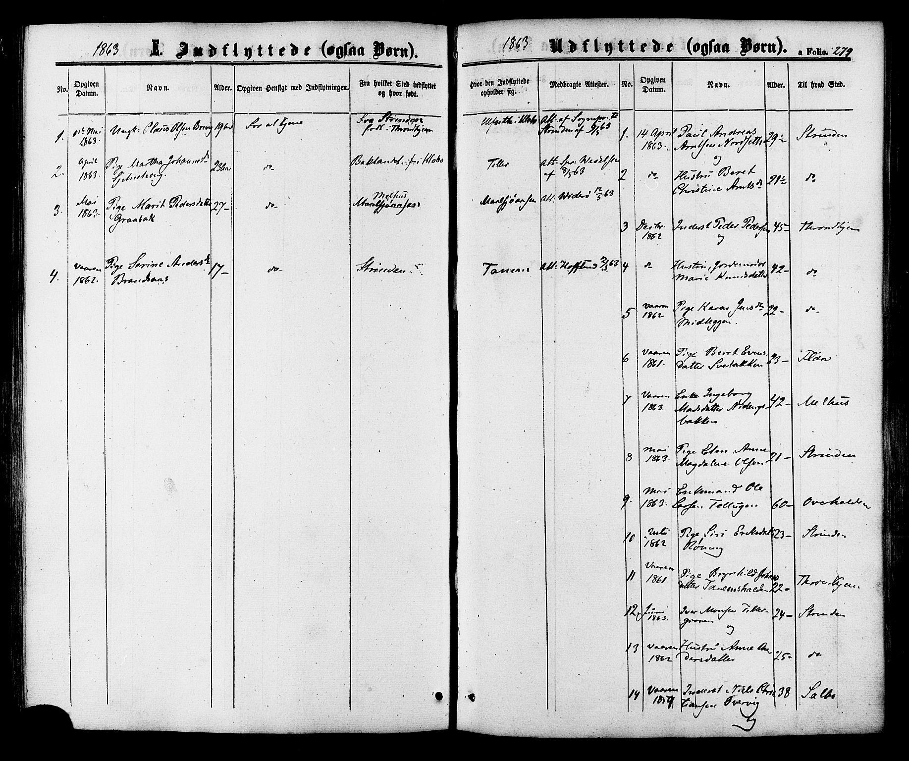 SAT, Ministerialprotokoller, klokkerbøker og fødselsregistre - Sør-Trøndelag, 618/L0442: Ministerialbok nr. 618A06 /1, 1863-1879, s. 279