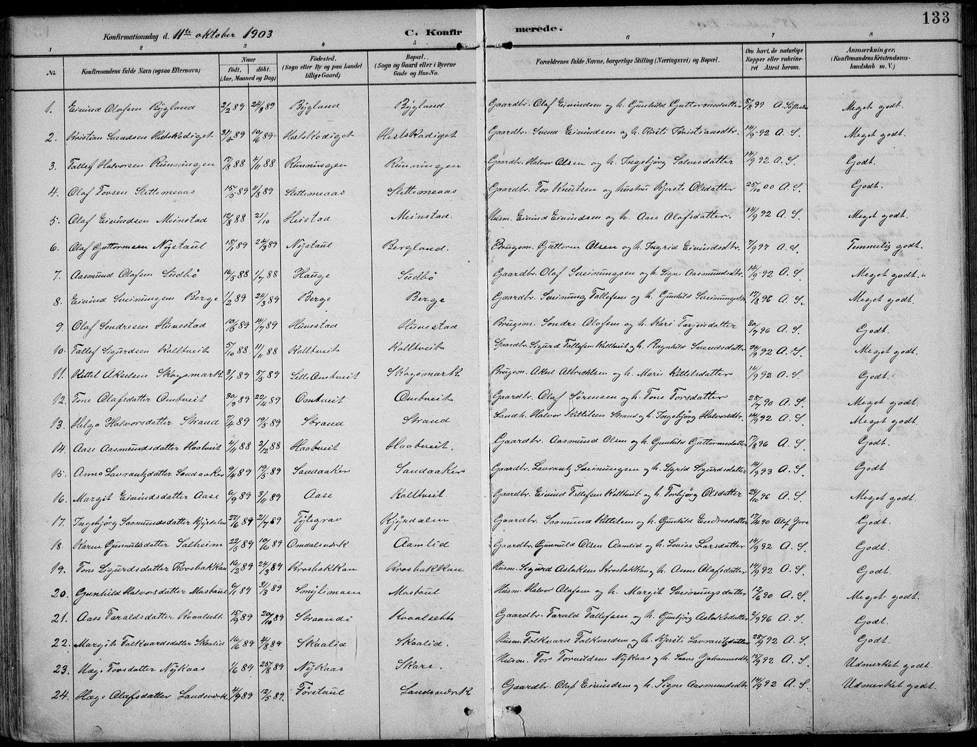 SAKO, Kviteseid kirkebøker, F/Fb/L0002: Ministerialbok nr. II 2, 1882-1916, s. 133