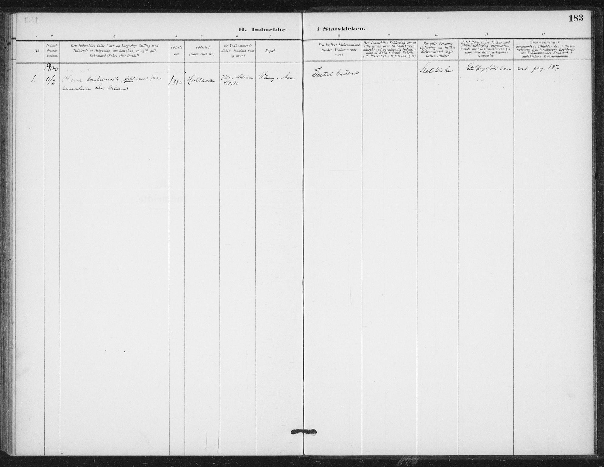 SAT, Ministerialprotokoller, klokkerbøker og fødselsregistre - Nord-Trøndelag, 714/L0131: Ministerialbok nr. 714A02, 1896-1918, s. 183