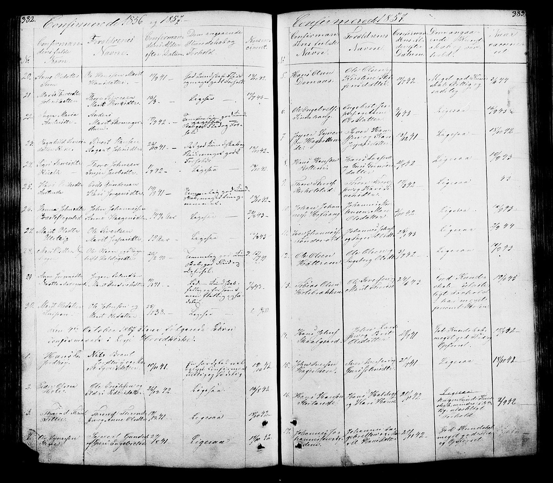 SAH, Lesja prestekontor, Klokkerbok nr. 5, 1850-1894, s. 382-383