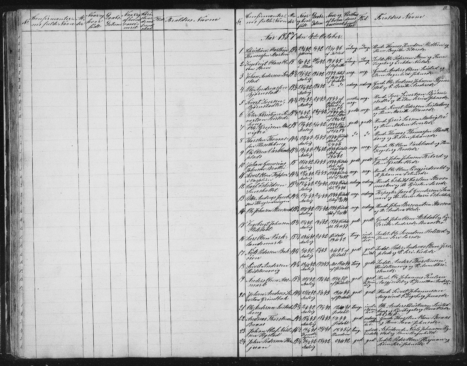 SAT, Ministerialprotokoller, klokkerbøker og fødselsregistre - Sør-Trøndelag, 616/L0406: Ministerialbok nr. 616A03, 1843-1879, s. 111