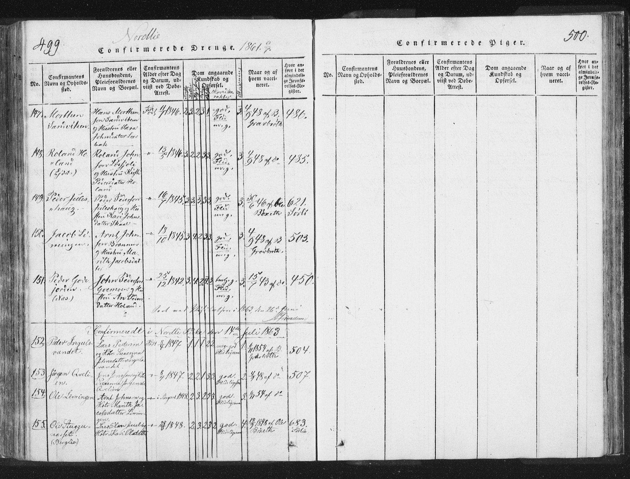 SAT, Ministerialprotokoller, klokkerbøker og fødselsregistre - Nord-Trøndelag, 755/L0491: Ministerialbok nr. 755A01 /1, 1817-1864, s. 499-500