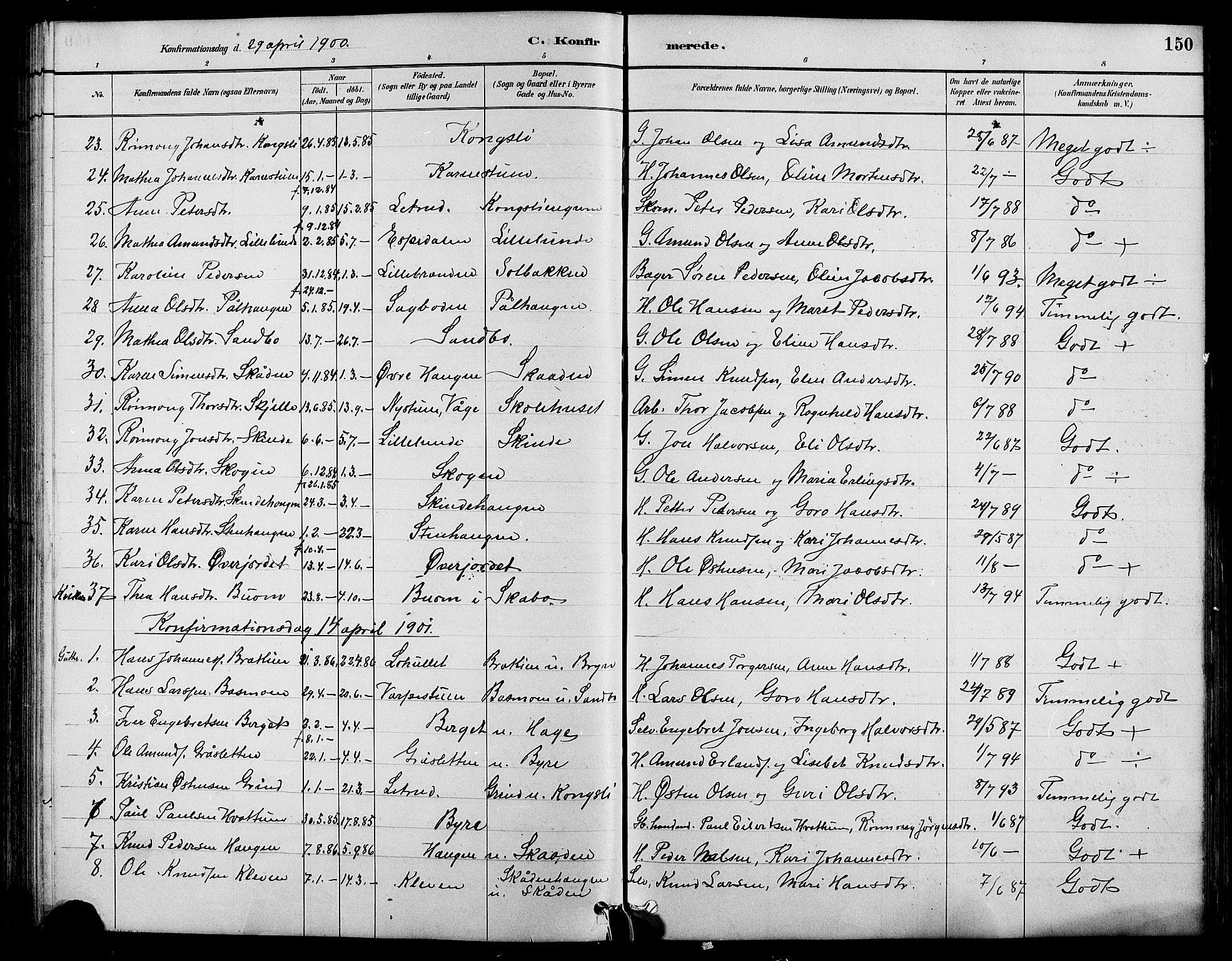 SAH, Nord-Fron prestekontor, Klokkerbok nr. 4, 1884-1914, s. 150
