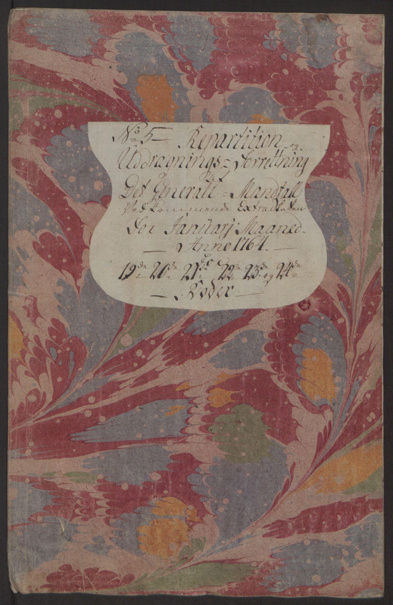 RA, Rentekammeret inntil 1814, Reviderte regnskaper, Byregnskaper, R/Rp/L0368: [P21] Kontribusjonsregnskap, 1764, s. 188