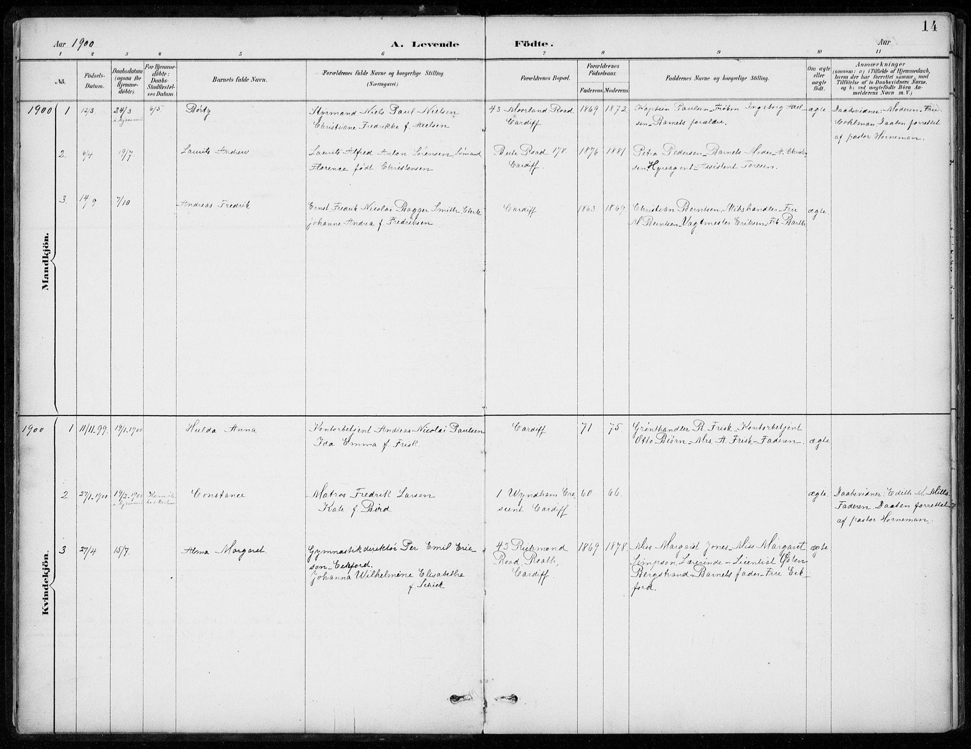 SAB, Den Norske Sjømannsmisjon i utlandet*, Ministerialbok nr. A 2, 1887-1932, s. 14