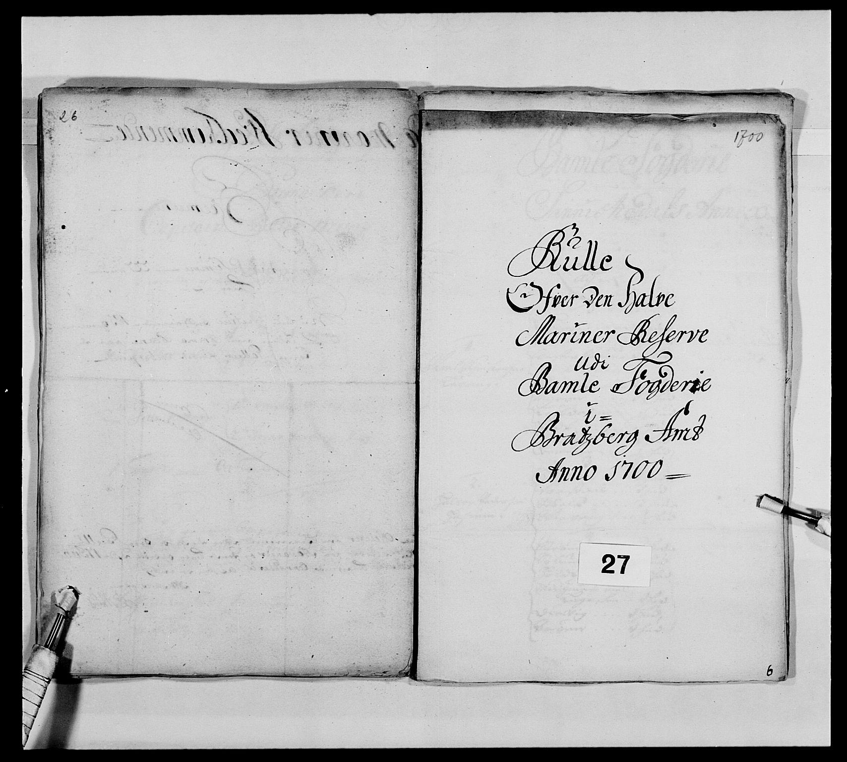 RA, Kommanderende general (KG I) med Det norske krigsdirektorium, E/Ea/L0473: Marineregimentet, 1664-1700, s. 296