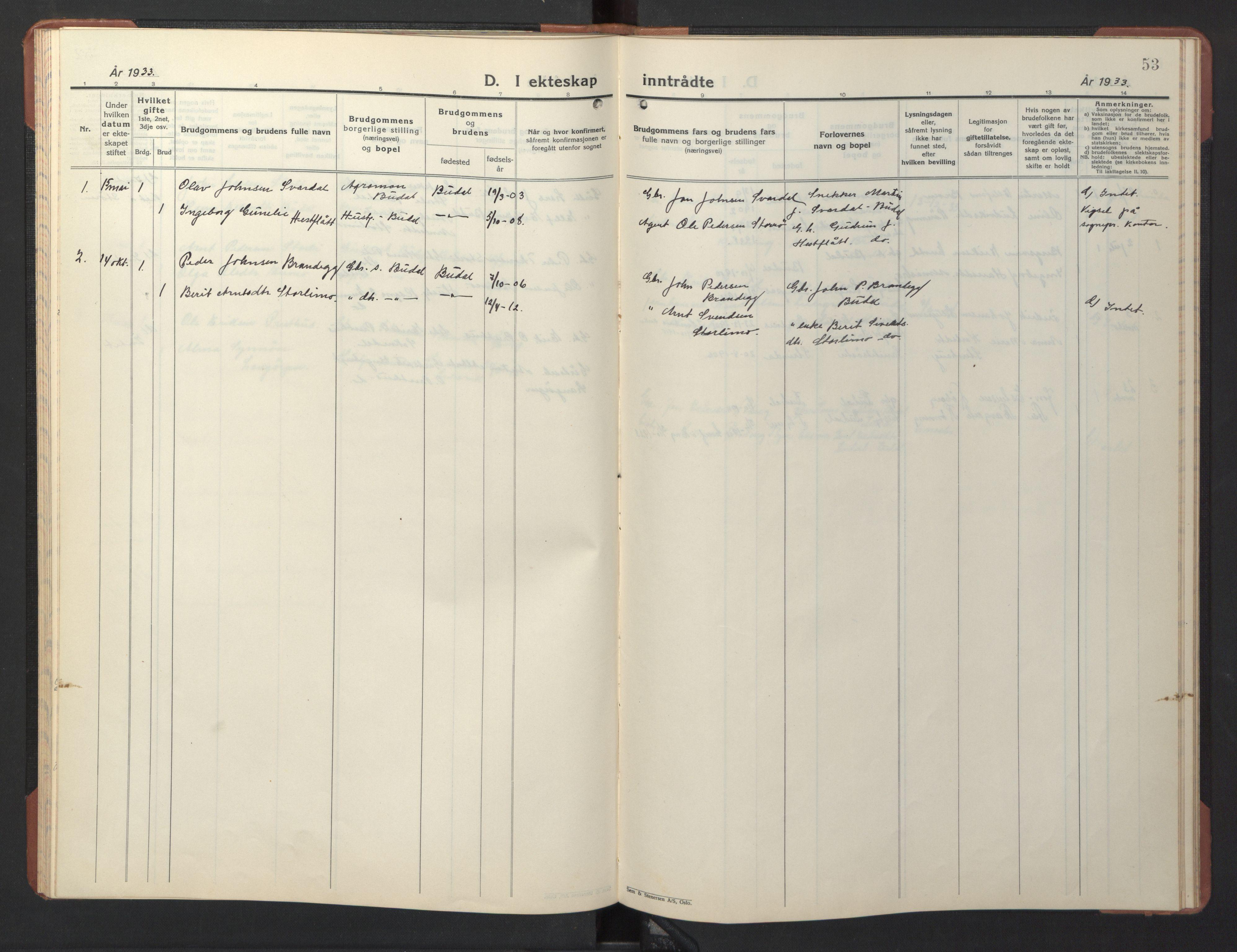 SAT, Ministerialprotokoller, klokkerbøker og fødselsregistre - Sør-Trøndelag, 690/L1053: Klokkerbok nr. 690C03, 1930-1947, s. 53