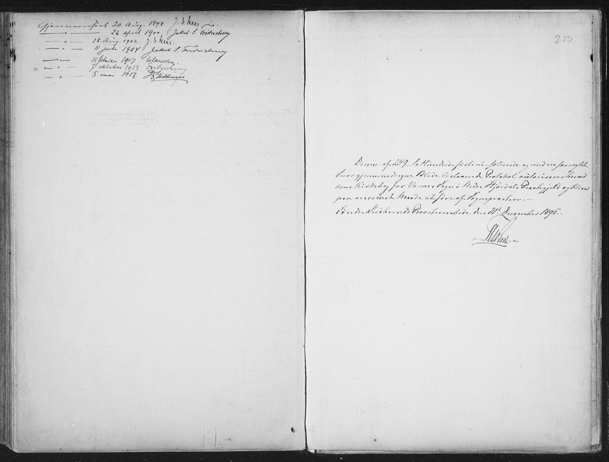 SAT, Ministerialprotokoller, klokkerbøker og fødselsregistre - Nord-Trøndelag, 709/L0082: Ministerialbok nr. 709A22, 1896-1916, s. 250