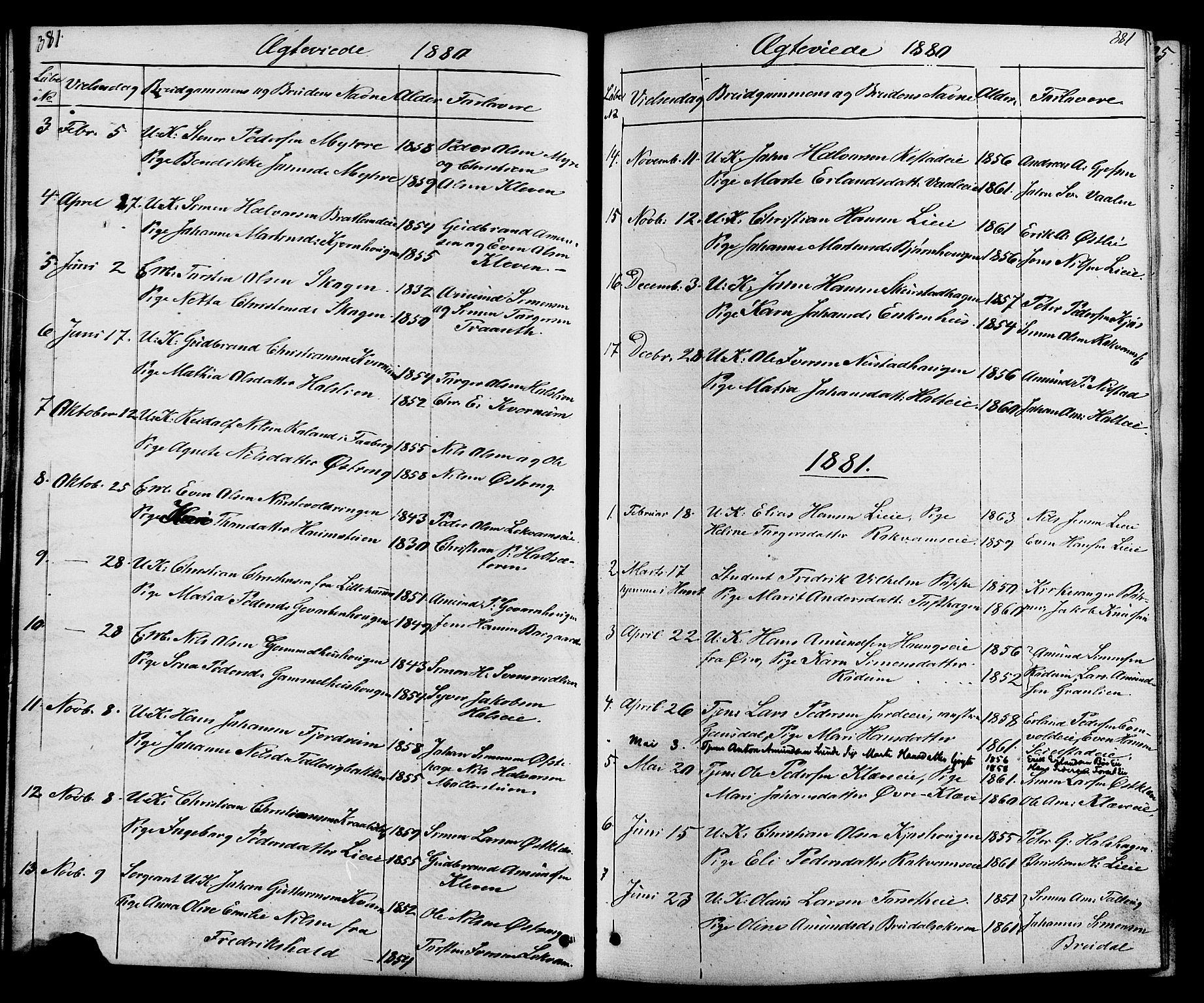 SAH, Østre Gausdal prestekontor, Klokkerbok nr. 1, 1863-1893, s. 381-382