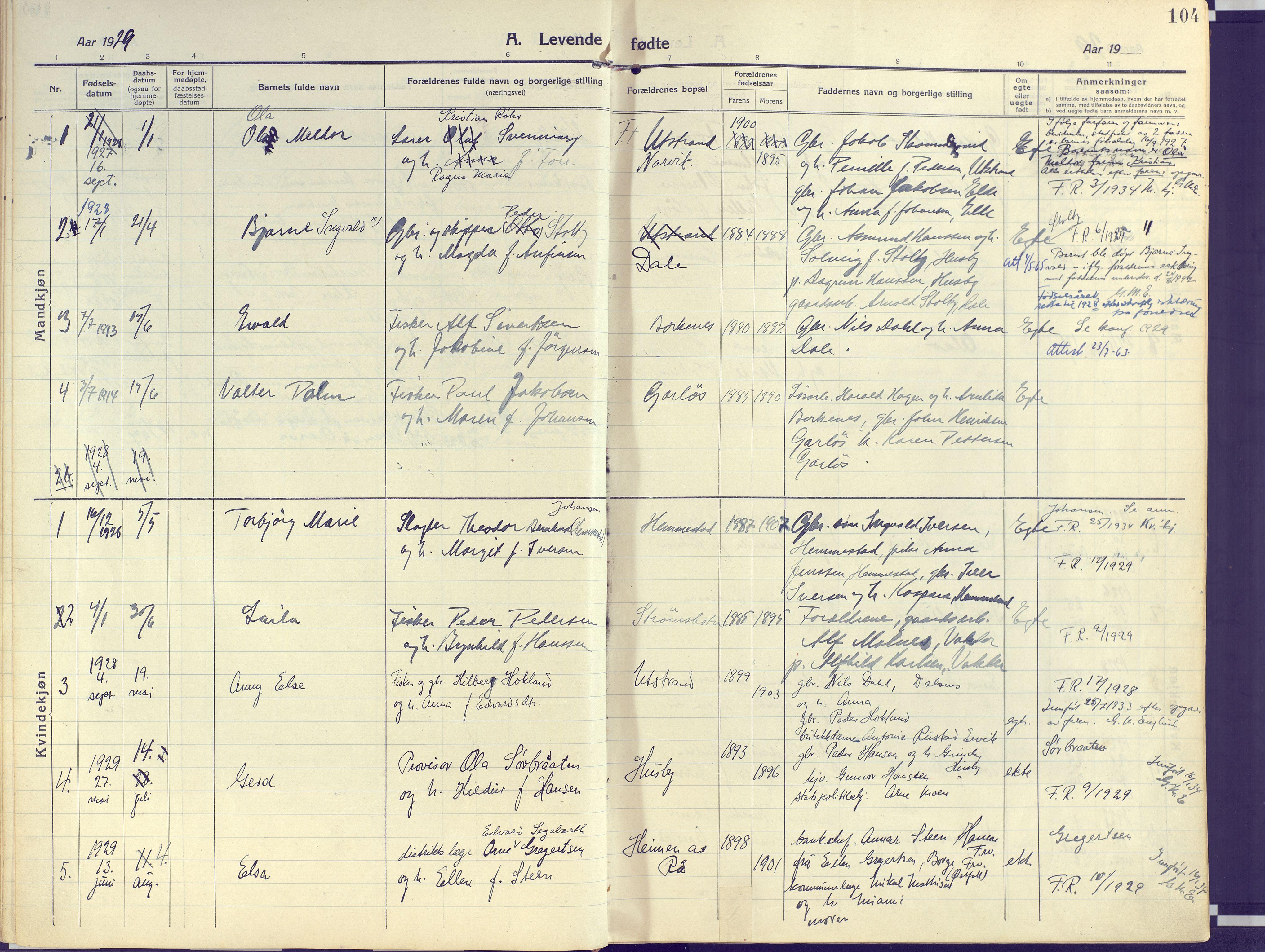 SATØ, Kvæfjord sokneprestkontor, G/Ga/Gaa/L0007kirke: Ministerialbok nr. 7, 1915-1931, s. 104