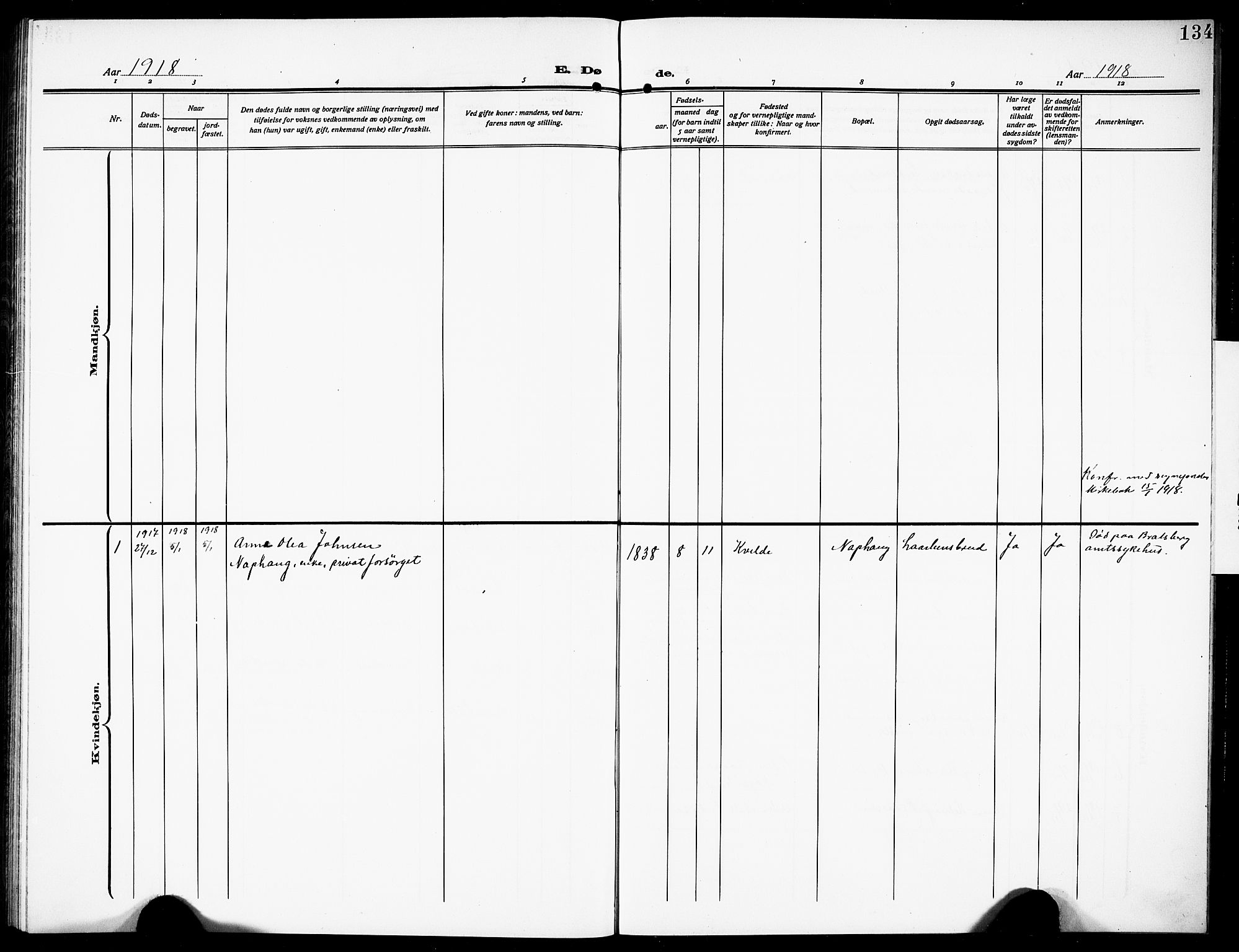 SAKO, Siljan kirkebøker, G/Ga/L0003: Klokkerbok nr. 3, 1909-1927, s. 134