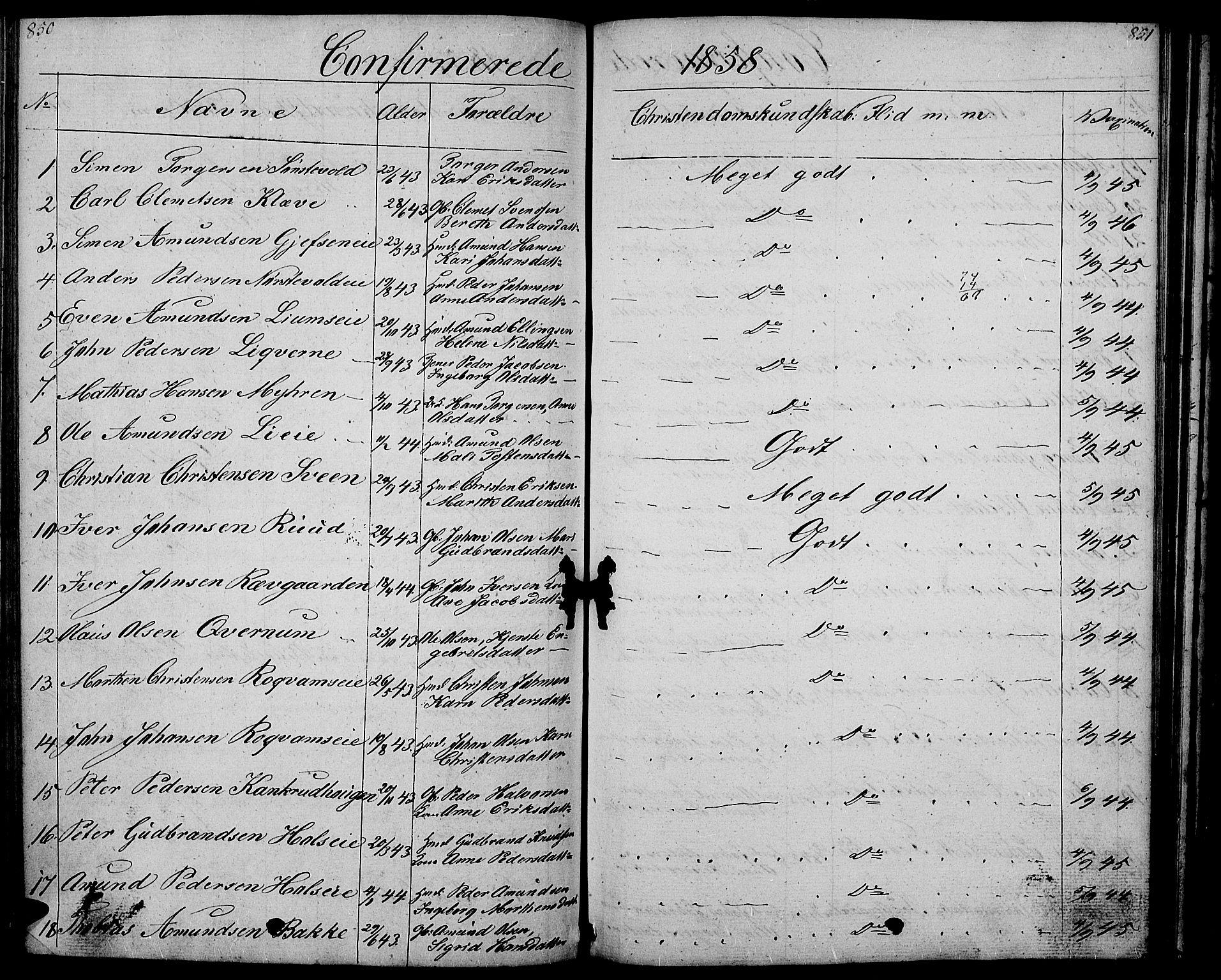SAH, Gausdal prestekontor, Klokkerbok nr. 4, 1835-1870, s. 850-851