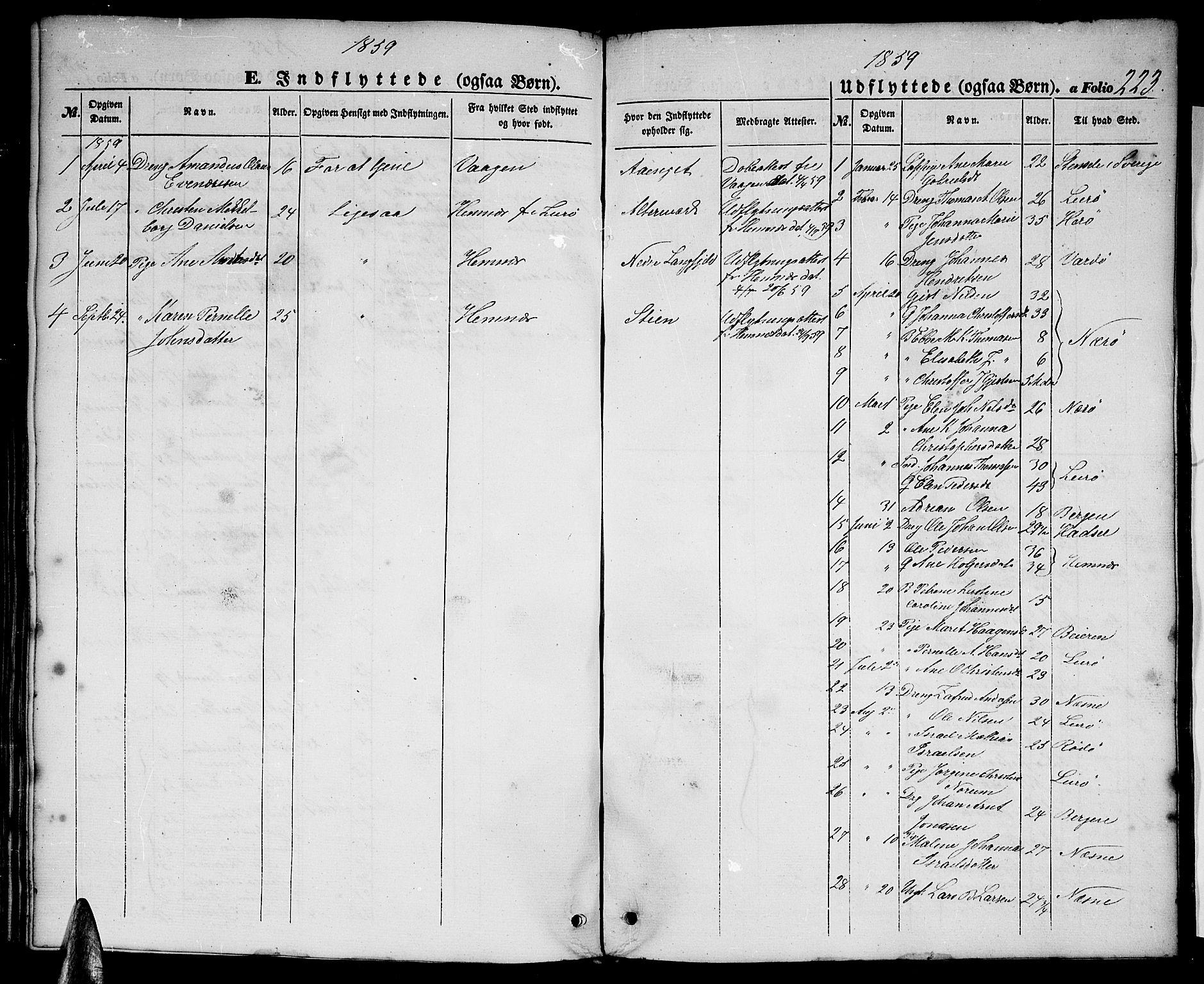 SAT, Ministerialprotokoller, klokkerbøker og fødselsregistre - Nordland, 827/L0414: Klokkerbok nr. 827C03, 1853-1865, s. 223