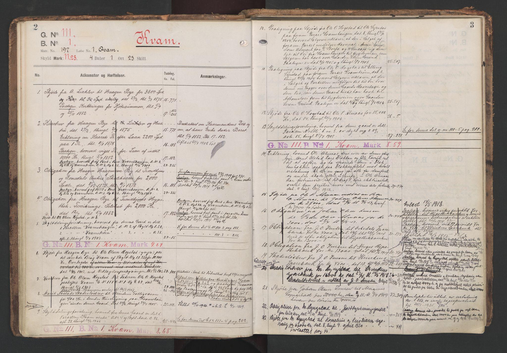 SAT, Strinda og Selbu sorenskriveri, 2/2A/L0059: Panteregister nr. 59, s. 2-3