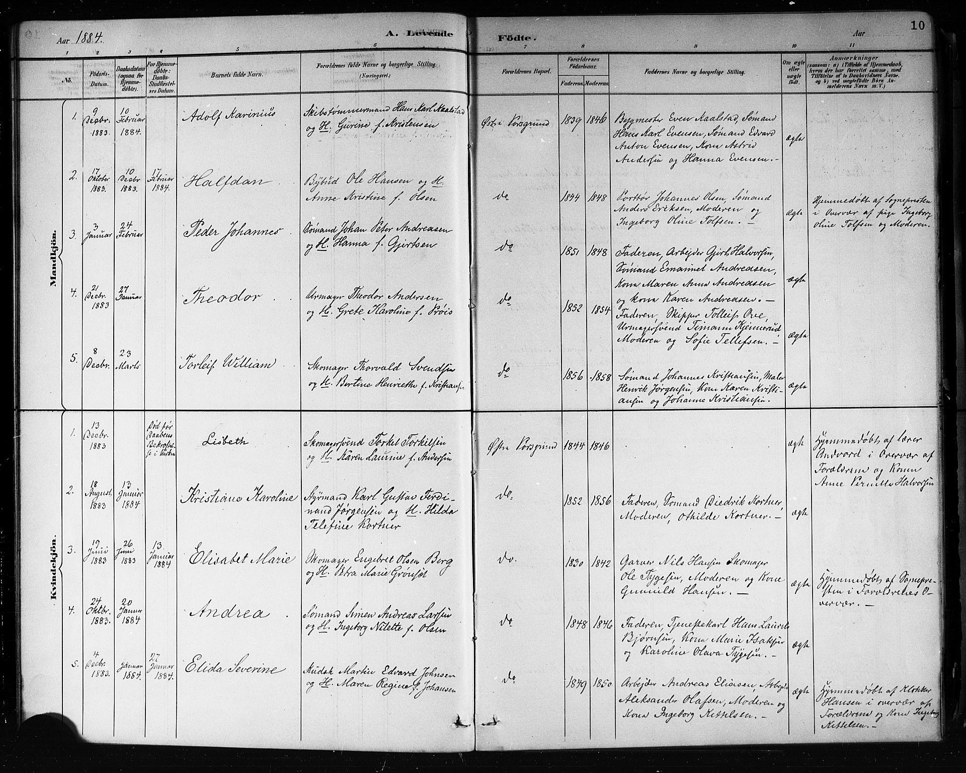 SAKO, Porsgrunn kirkebøker , G/Gb/L0005: Klokkerbok nr. II 5, 1883-1915, s. 10