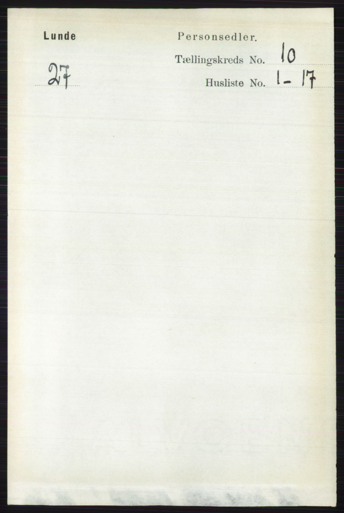 RA, Folketelling 1891 for 0820 Lunde herred, 1891, s. 2881