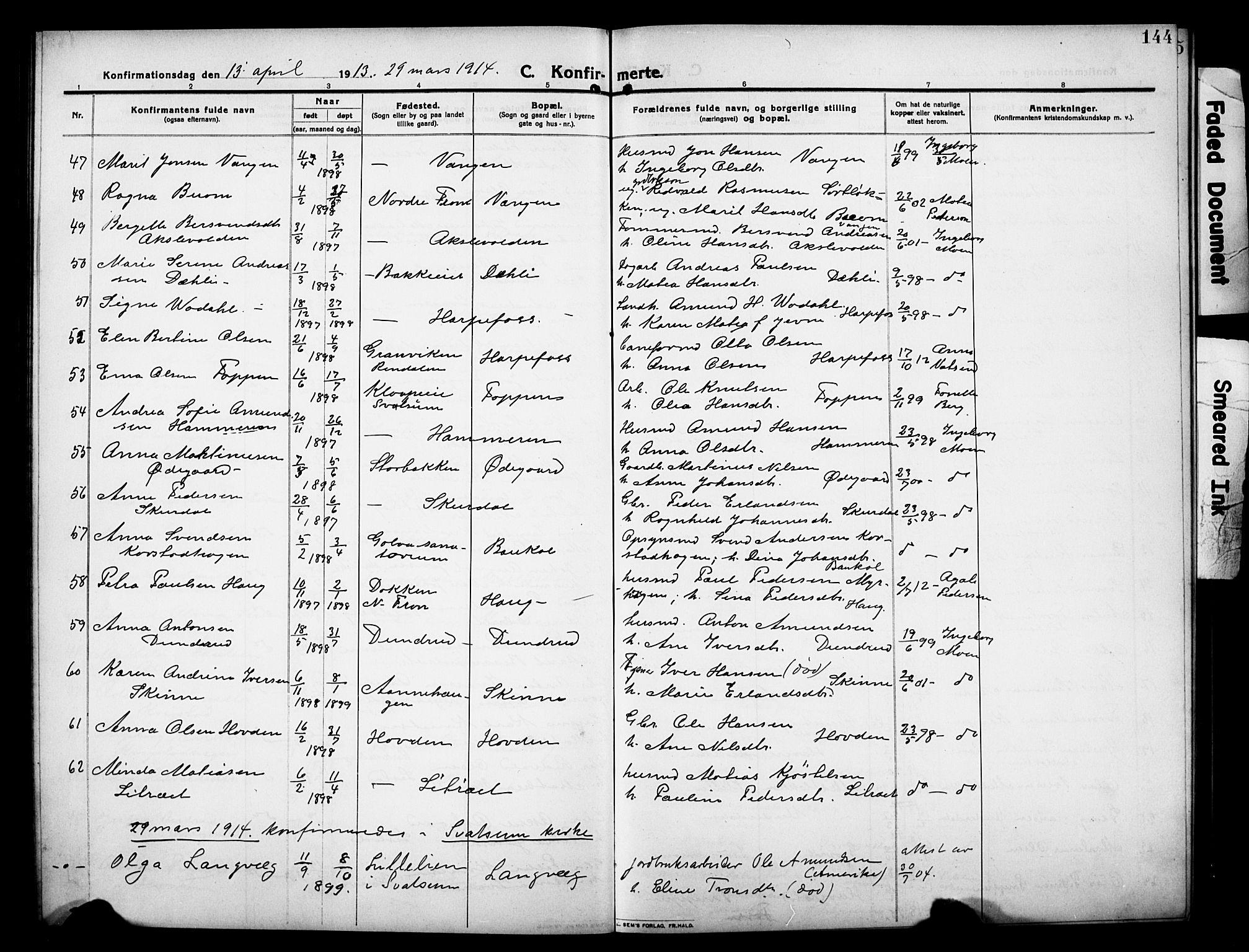 SAH, Sør-Fron prestekontor, H/Ha/Hab/L0005: Klokkerbok nr. 5, 1912-1930, s. 144