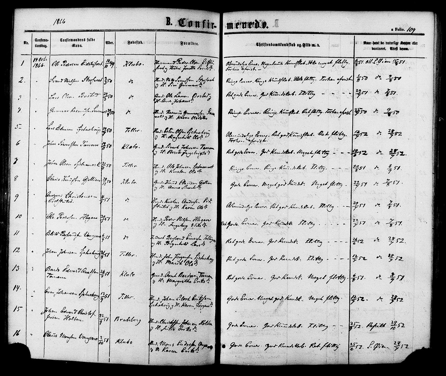 SAT, Ministerialprotokoller, klokkerbøker og fødselsregistre - Sør-Trøndelag, 618/L0442: Ministerialbok nr. 618A06 /1, 1863-1879, s. 109