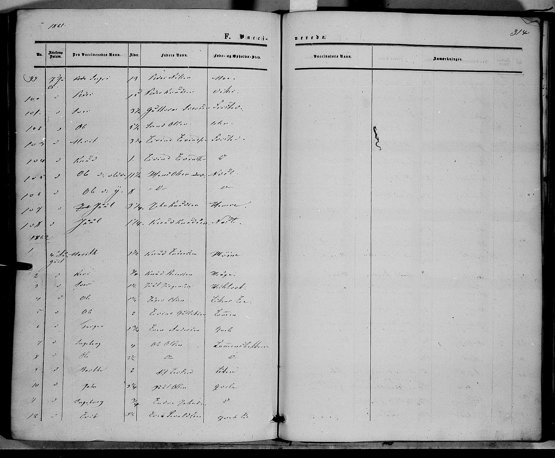 SAH, Vestre Slidre prestekontor, Ministerialbok nr. 2, 1856-1864, s. 314