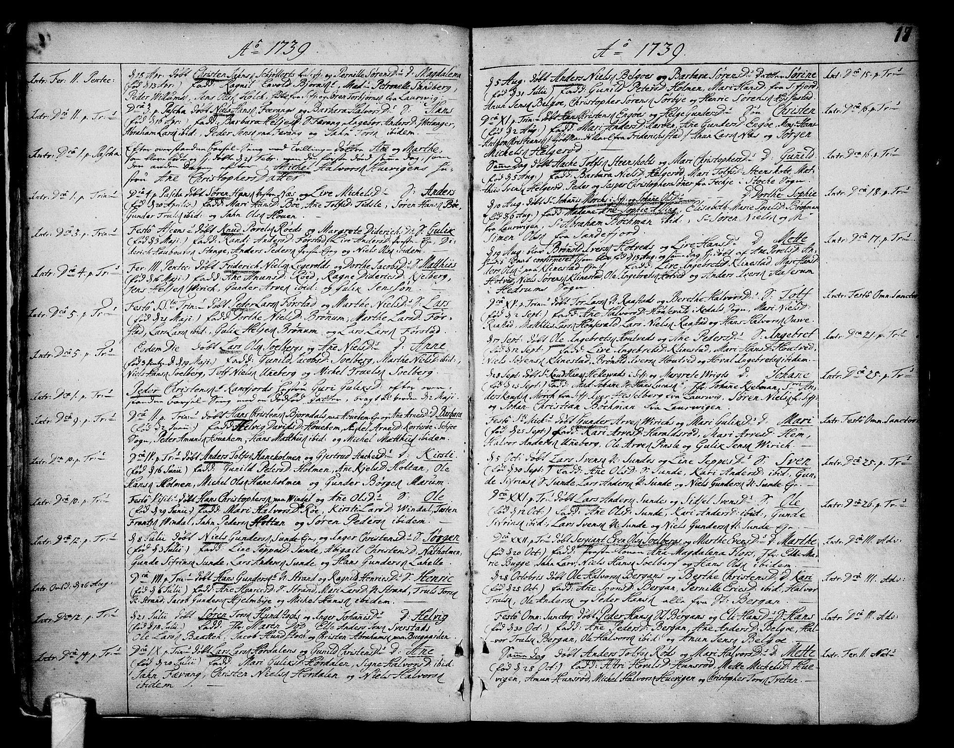 SAKO, Sandar kirkebøker, F/Fa/L0002: Ministerialbok nr. 2, 1733-1788, s. 17