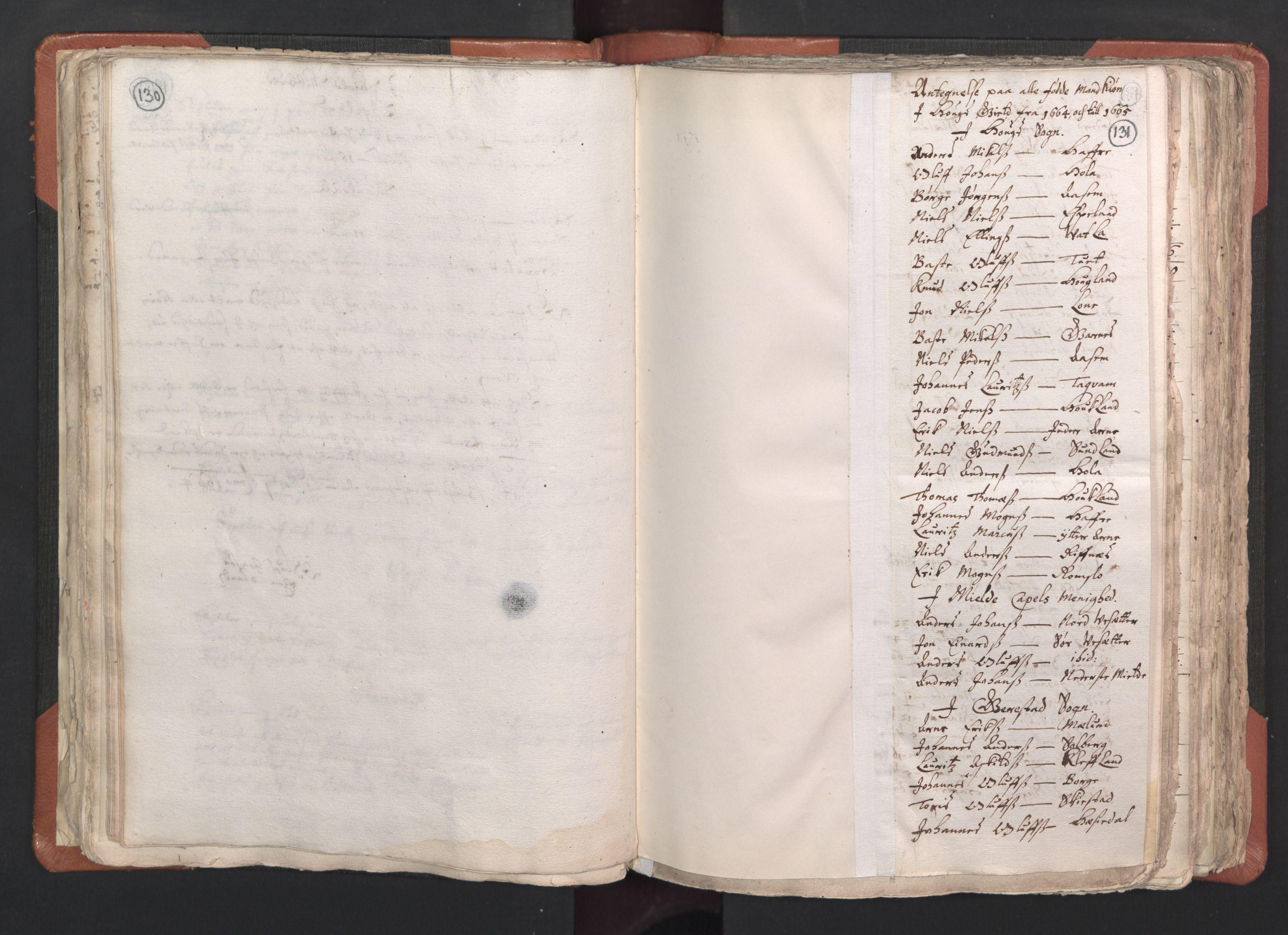 RA, Sogneprestenes manntall 1664-1666, nr. 22: Nordhordland prosti, 1664-1666, s. 130-131