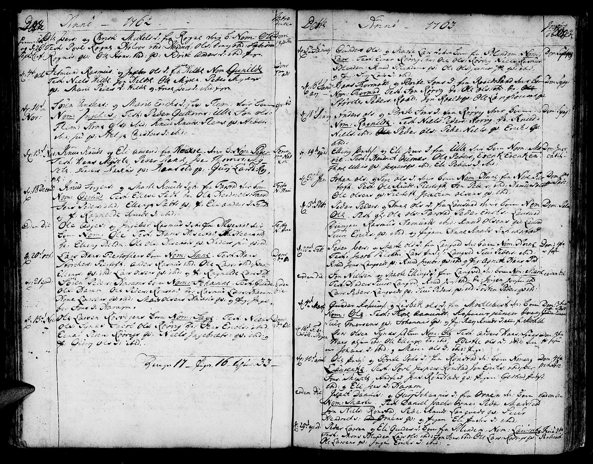 SAT, Ministerialprotokoller, klokkerbøker og fødselsregistre - Møre og Romsdal, 536/L0493: Ministerialbok nr. 536A02, 1739-1802, s. 208-209