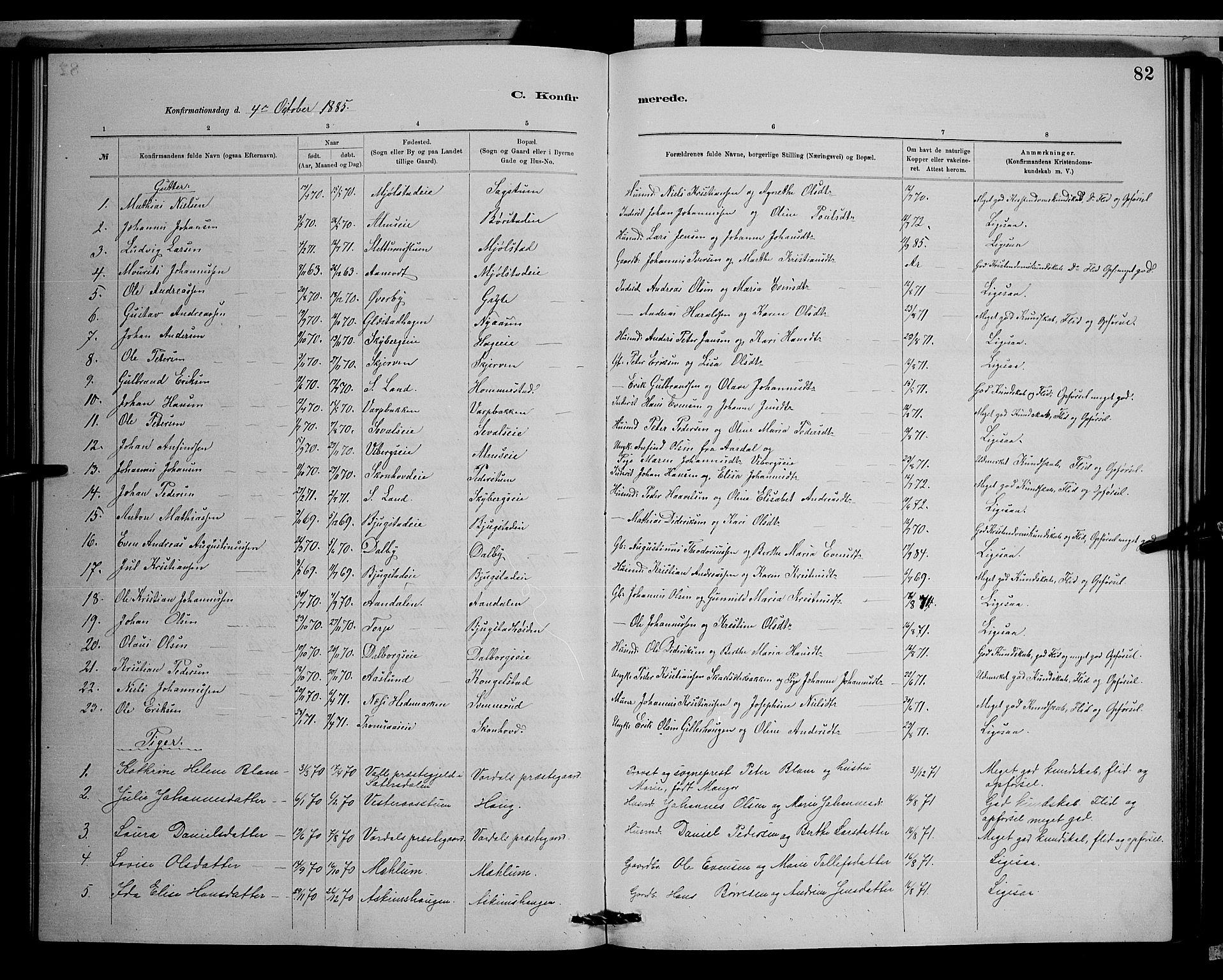 SAH, Vardal prestekontor, H/Ha/Hab/L0008: Klokkerbok nr. 8, 1881-1898, s. 82