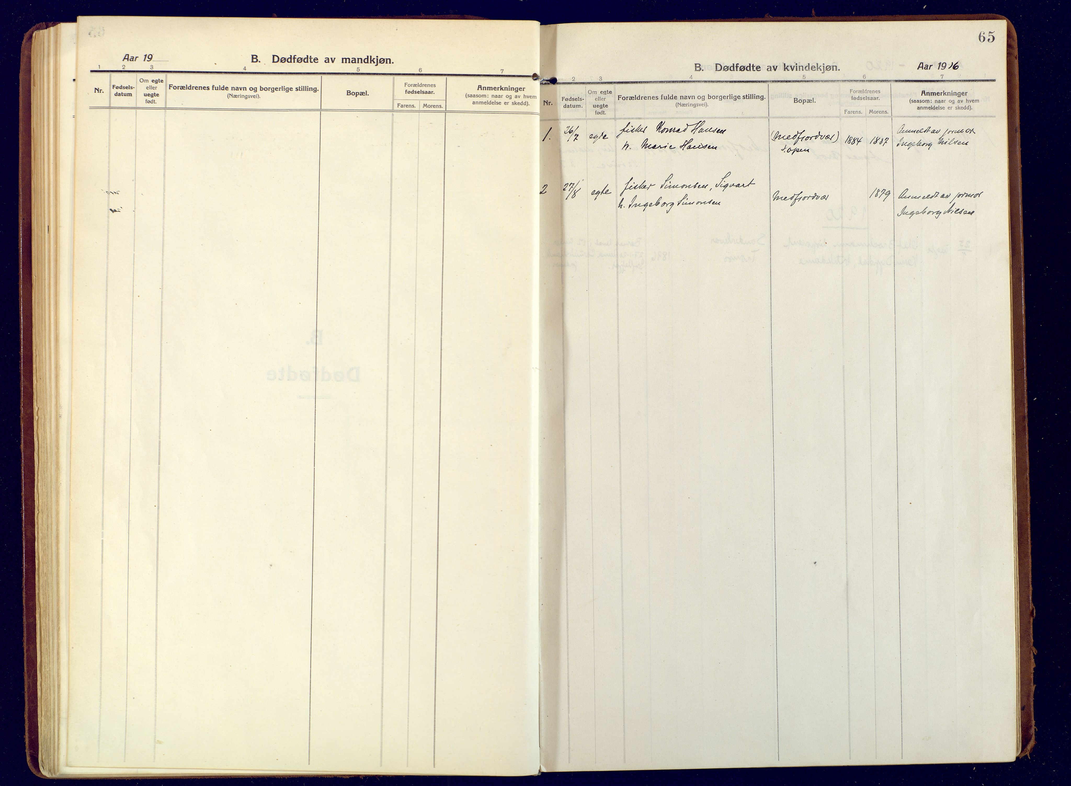 SATØ, Mefjord/Berg sokneprestkontor, G/Ga/Gaa: Ministerialbok nr. 9, 1916-1928, s. 65