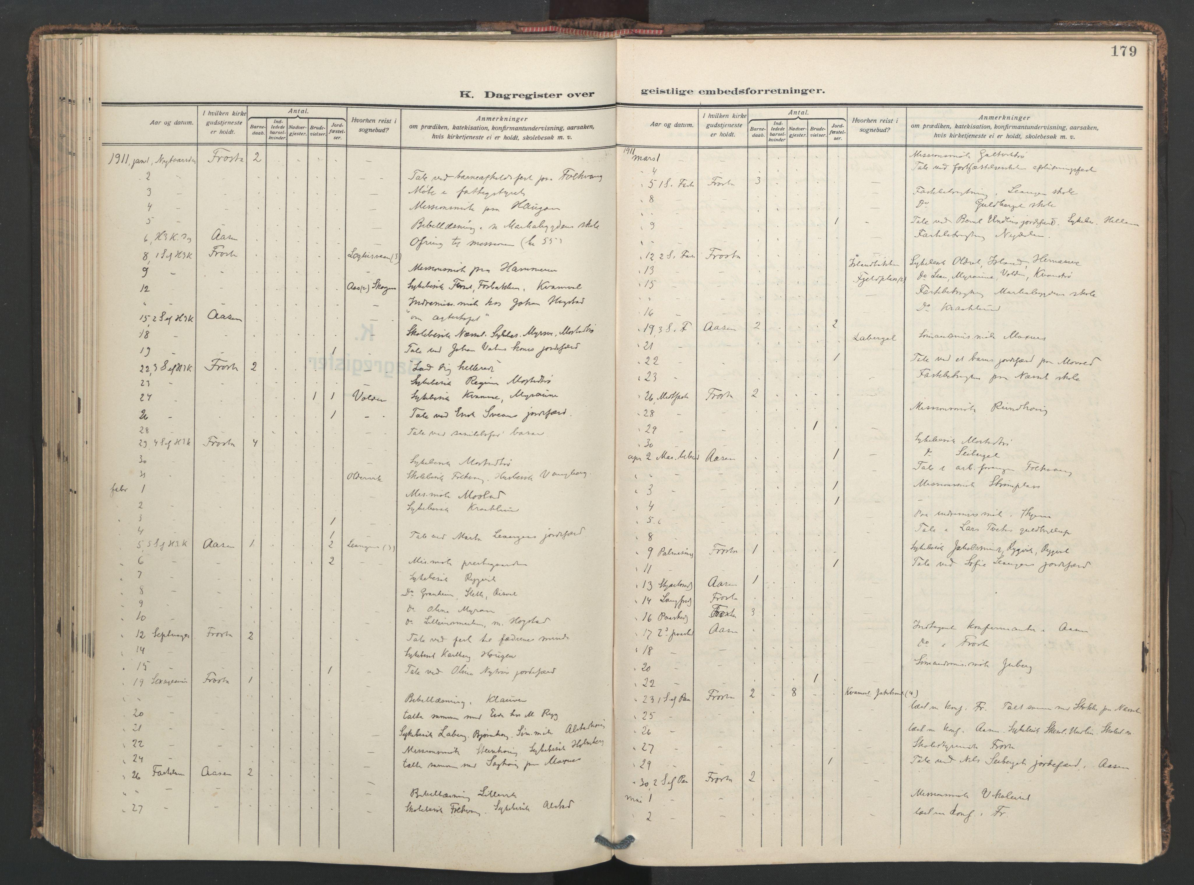 SAT, Ministerialprotokoller, klokkerbøker og fødselsregistre - Nord-Trøndelag, 713/L0123: Ministerialbok nr. 713A12, 1911-1925, s. 179