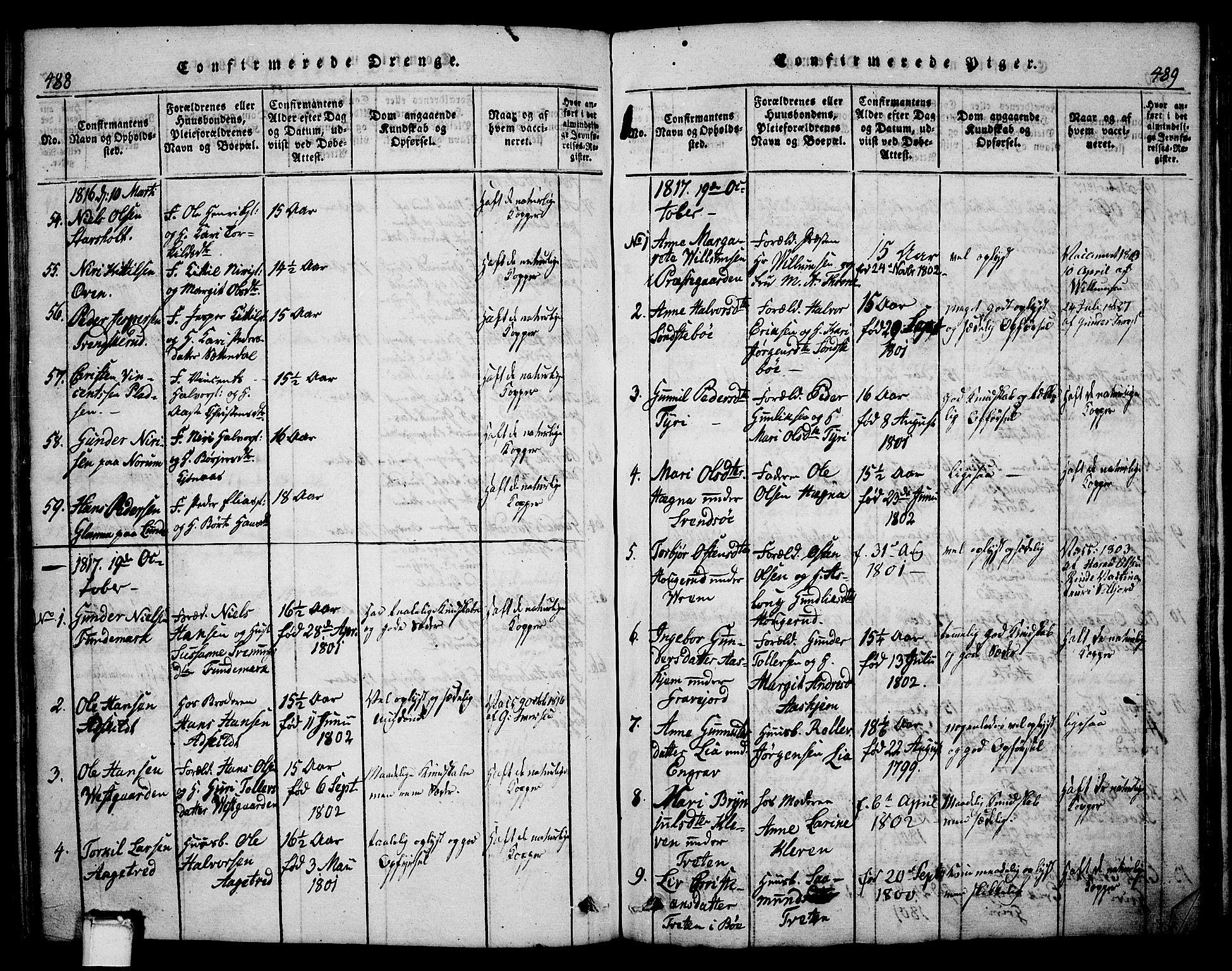 SAKO, Bø kirkebøker, G/Ga/L0001: Klokkerbok nr. 1, 1815-1831, s. 488-489