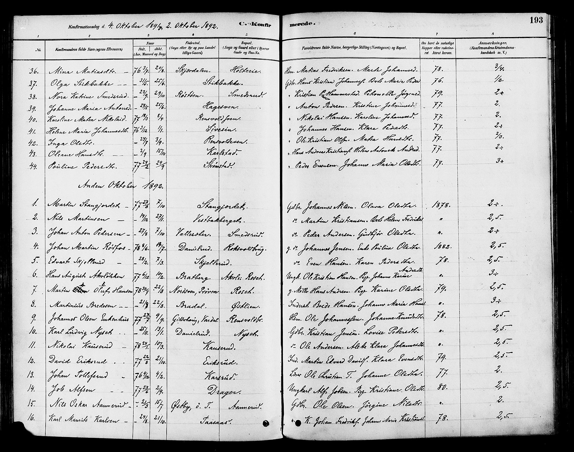 SAH, Vestre Toten prestekontor, H/Ha/Haa/L0009: Ministerialbok nr. 9, 1878-1894, s. 193