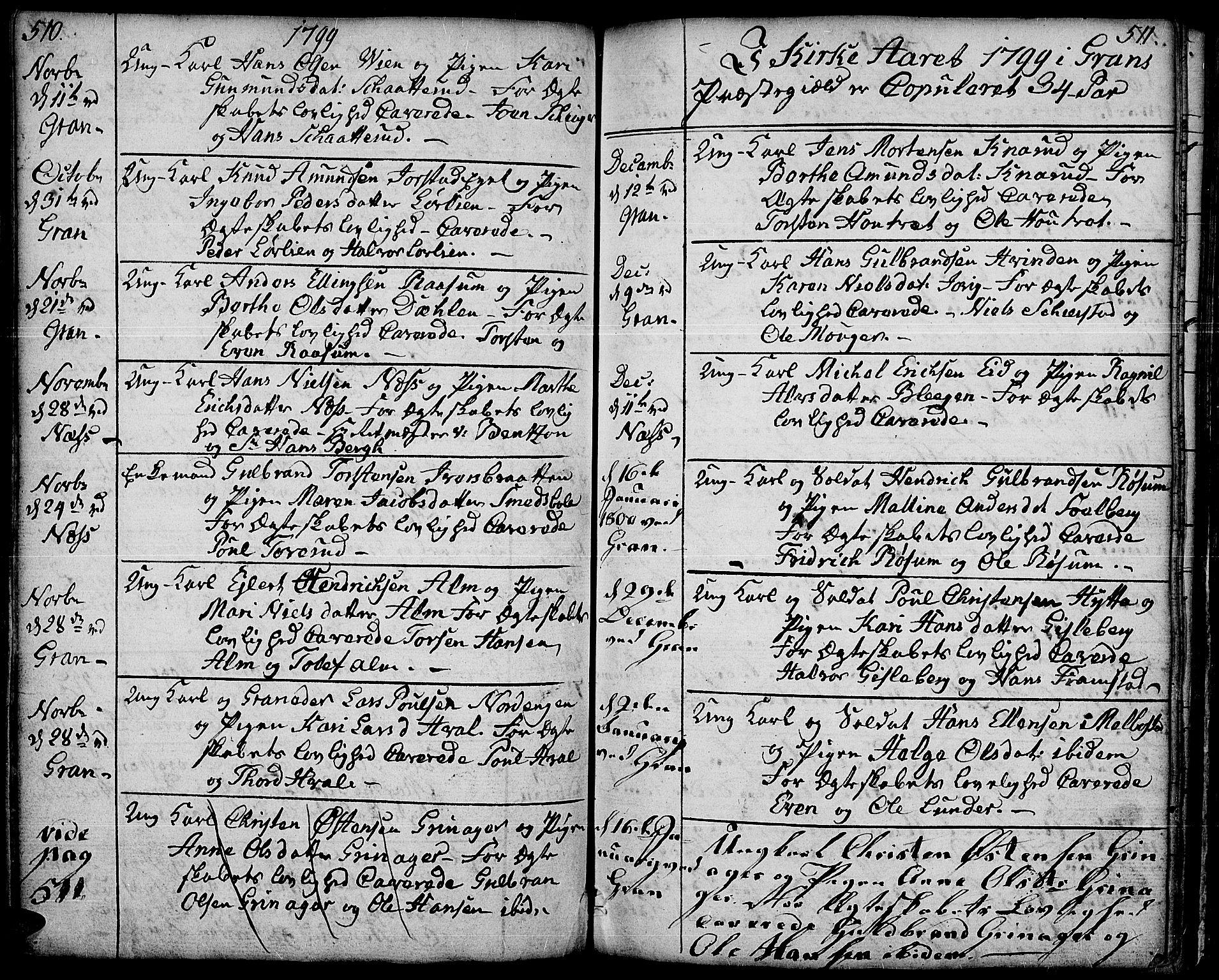 SAH, Gran prestekontor, Ministerialbok nr. 6, 1787-1824, s. 510-511